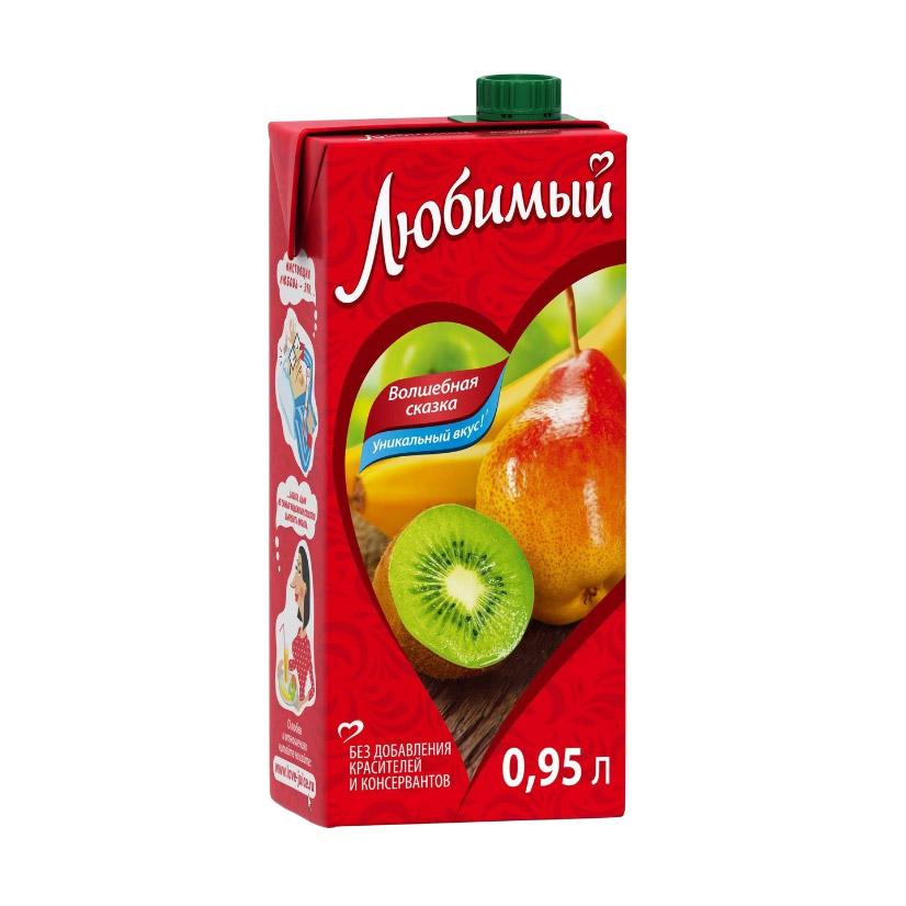 Напиток сокосодержащий Любимый Яблоко-Банан-Груша-Киви 0,95 л напиток сокосодержащий любимый яблоко вишня черешня 0 95 л