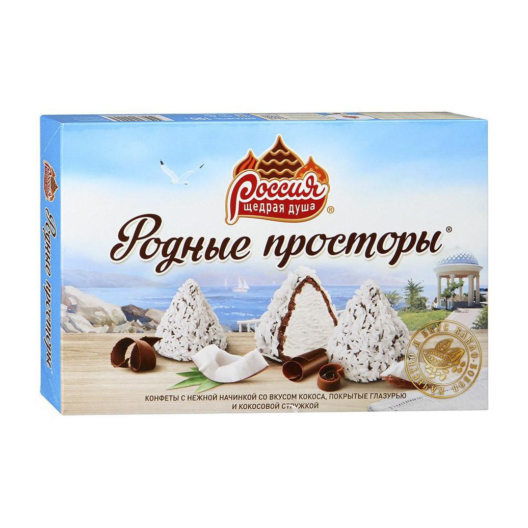 набор конфет россия щедрая душа родные просторы со вкусом кокоса 190 г Конфеты Родные просторы с кокосовой стружкой 190 г