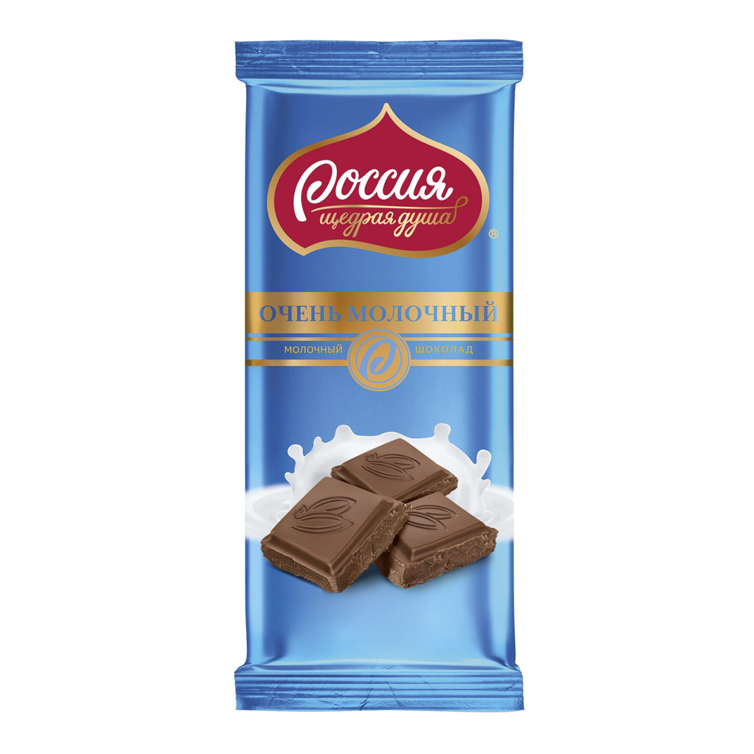 набор конфет россия щедрая душа родные просторы со вкусом кокоса 190 г Шоколад Россия щедрая душа Очень молочный 90 г