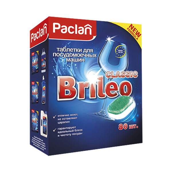 Таблетки для посудомоечных машин Paclan Brileo Classic 80 шт таблетки д посудомоечных машин jundo таблетки д посудомоечных машин