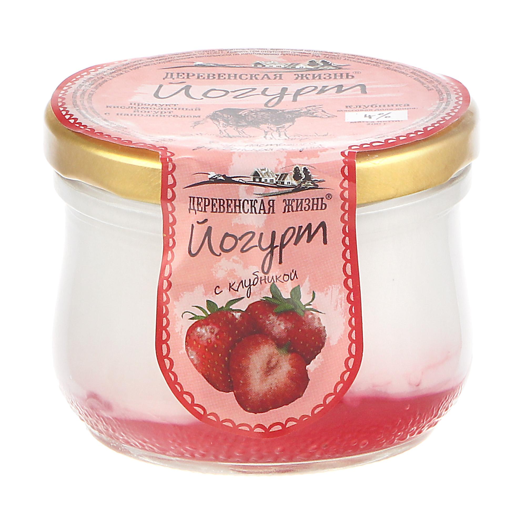 Йогурт термостатный Деревенская жизнь клубника 4% 200 г недорого