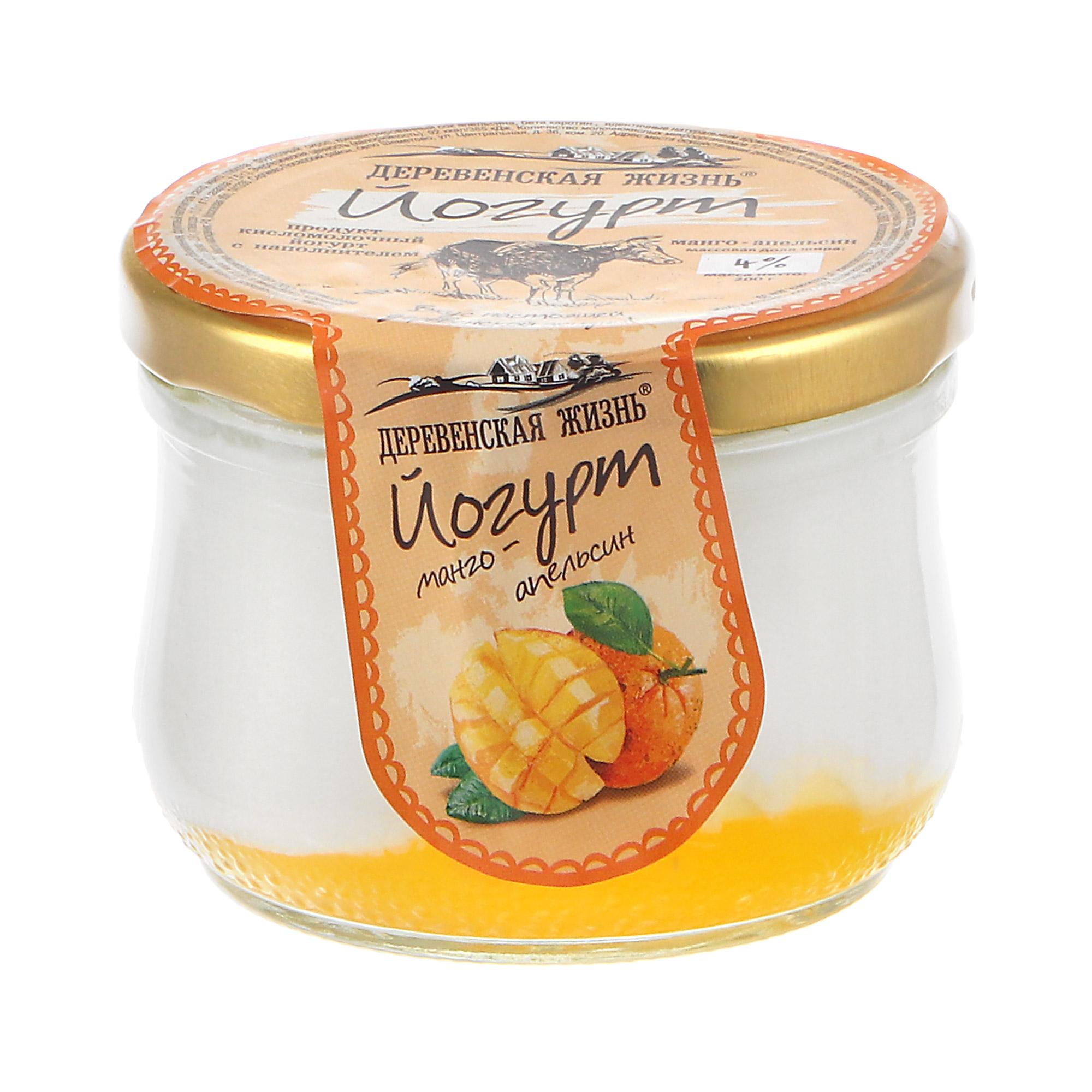 Йогурт термостатный Деревенская жизнь апельсин-манго 4% 200 г недорого