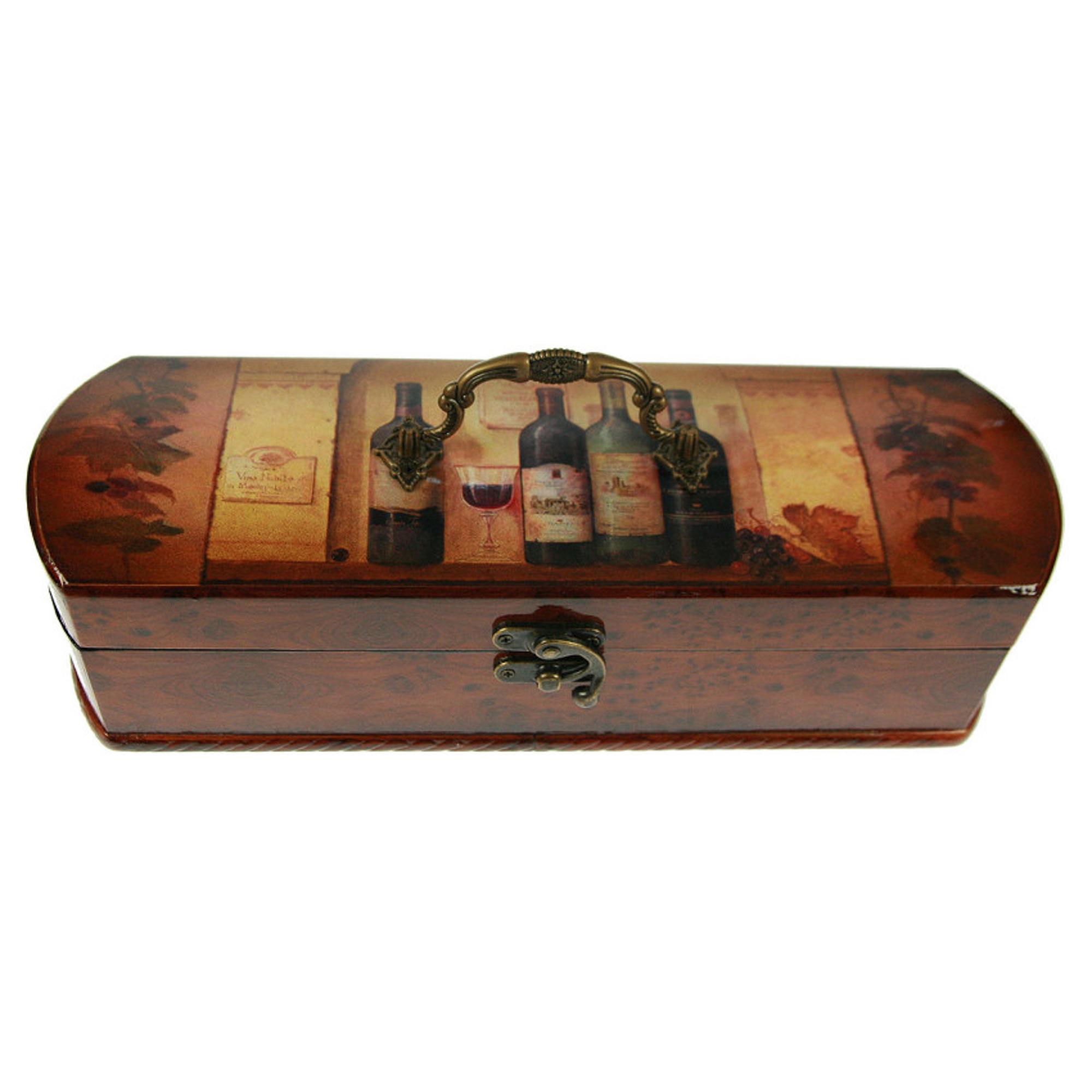 Шкатулка Русские подарки Сундучок под бутылку 36х12х10 см