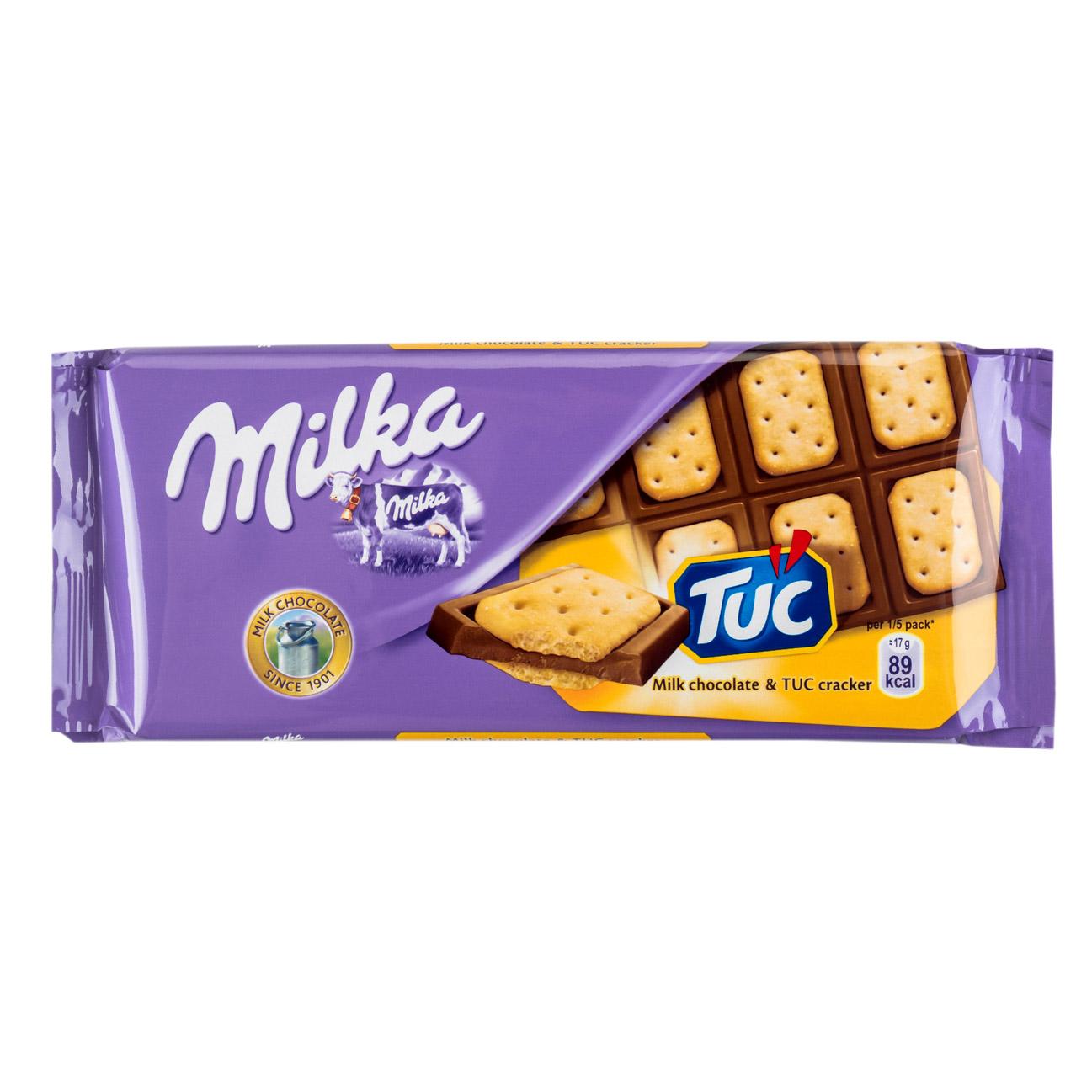 шоколад milka молочный 90 г Шоколад молочный Milka с соленым крекером Tuc 87 г