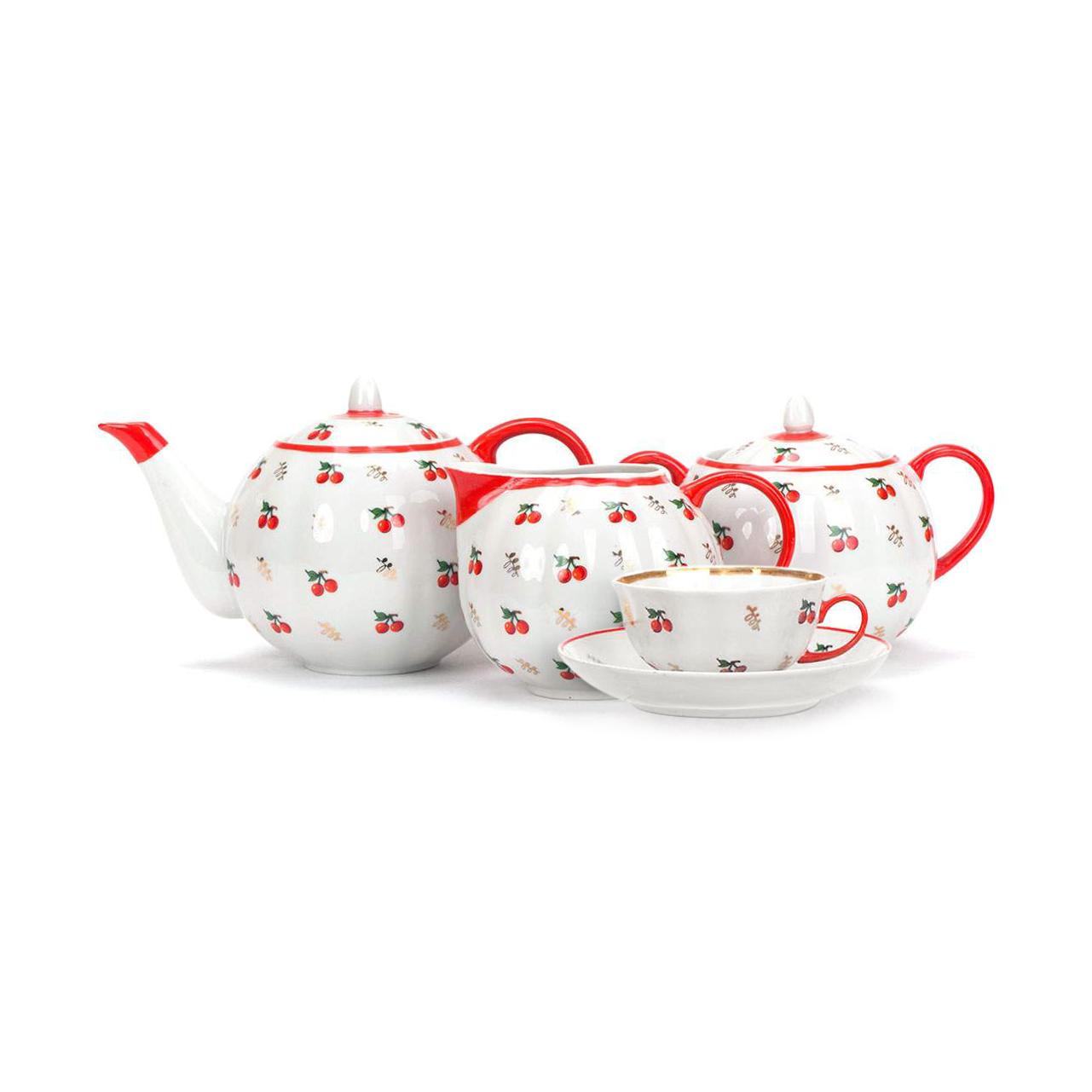 Чайный сервиз Дулево Ситцевый 6 персон 15 предметов