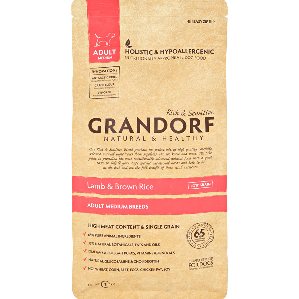 Корм для собак Grandorf Adult Medium Lamb  Rice 1 кг.