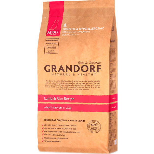 Корм для собак Grandorf Adult Medium Lamb  Rice 12 кг.