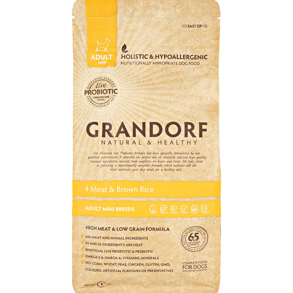 Корм для собак Grandorf Adult Mini 4 Meat  Brown Rice 1 кг.