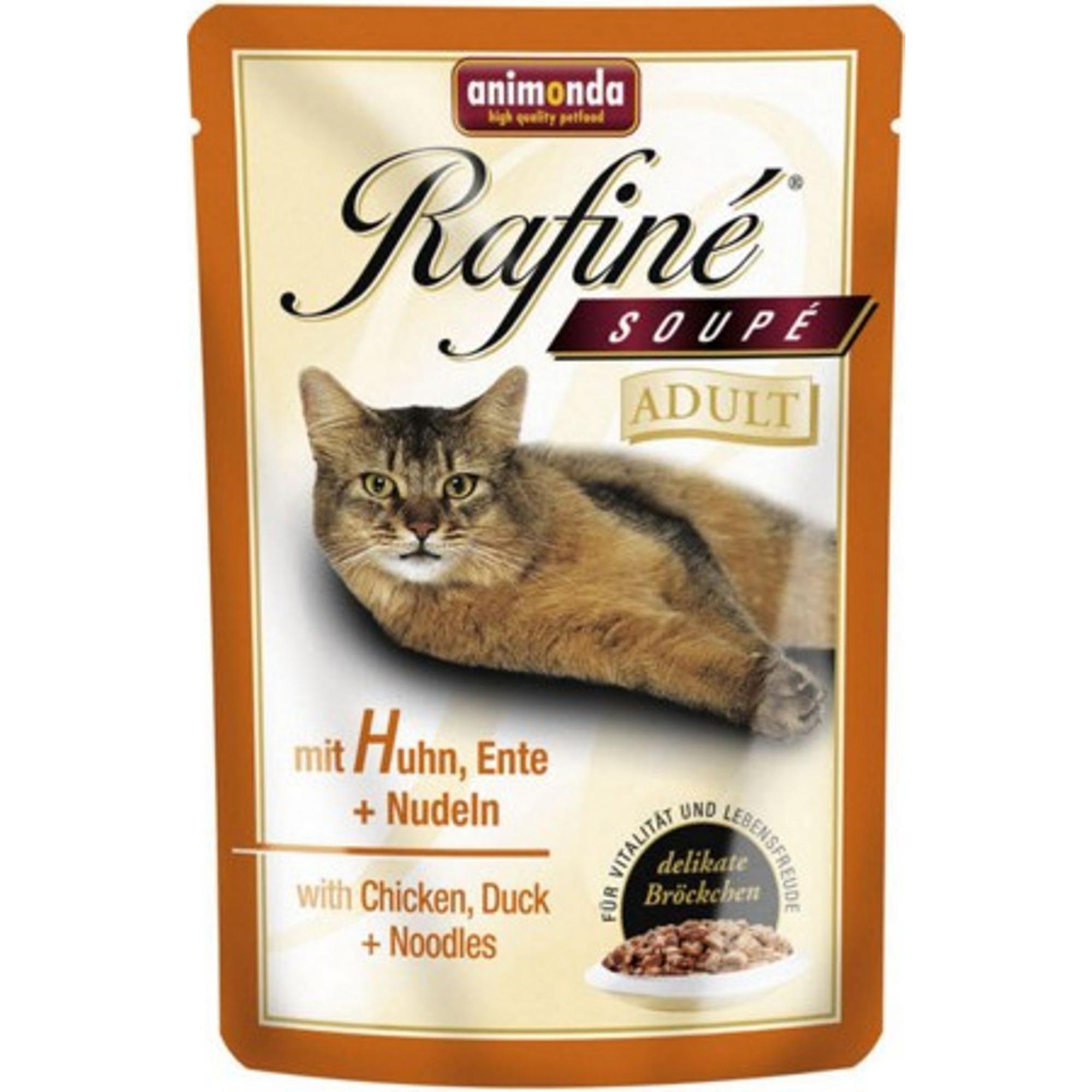 Фото - Корм для кошек ANIMONDA Rafine Soupe коктейль из курицы, утки и пасты 100г влажный корм для кошек animonda rafine 24шт х 100 г кусочки в соусе