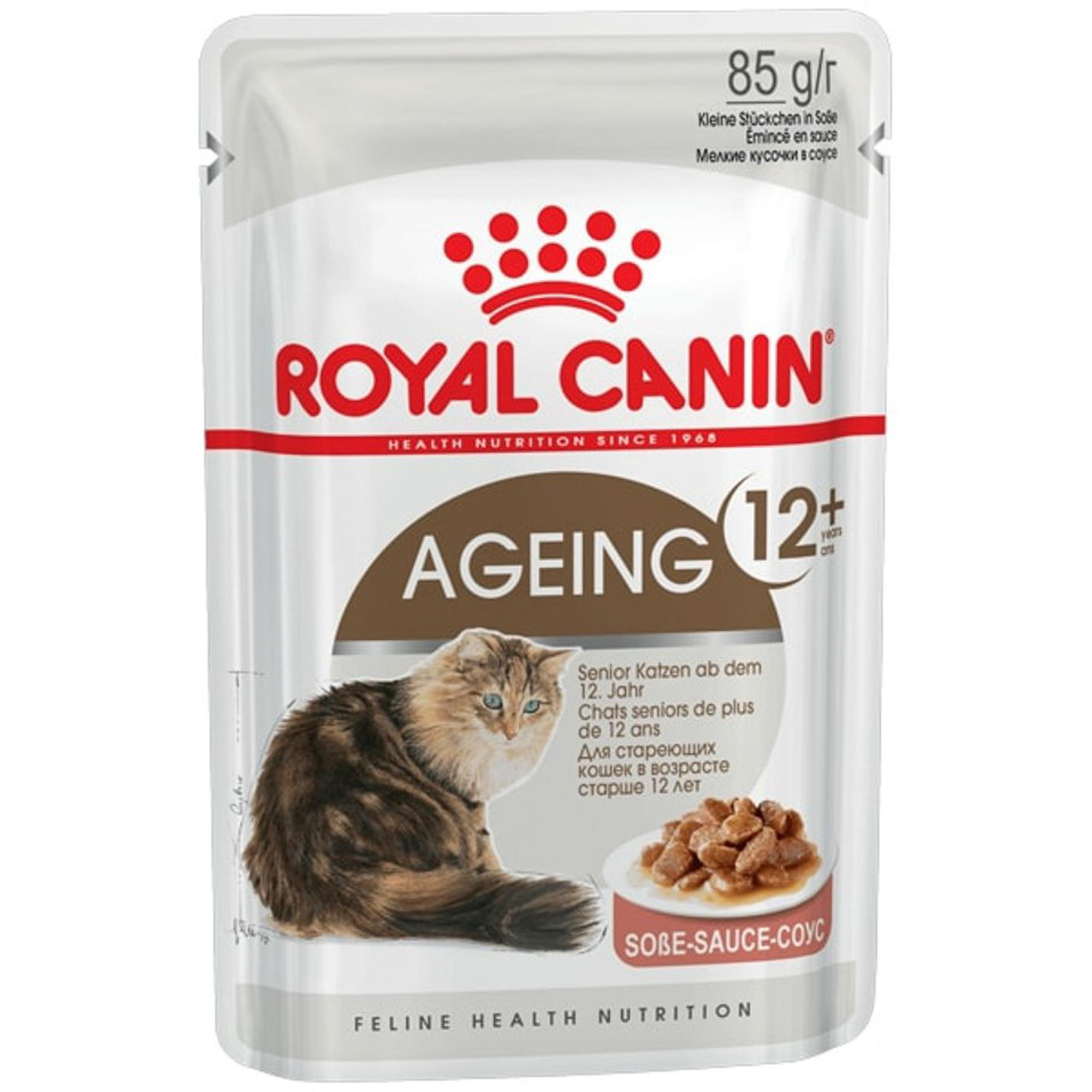 Корм для кошек ROYAL CANIN Ageing +12 для кошек старше 12 лет измельченные кусочки в соусе 85г.