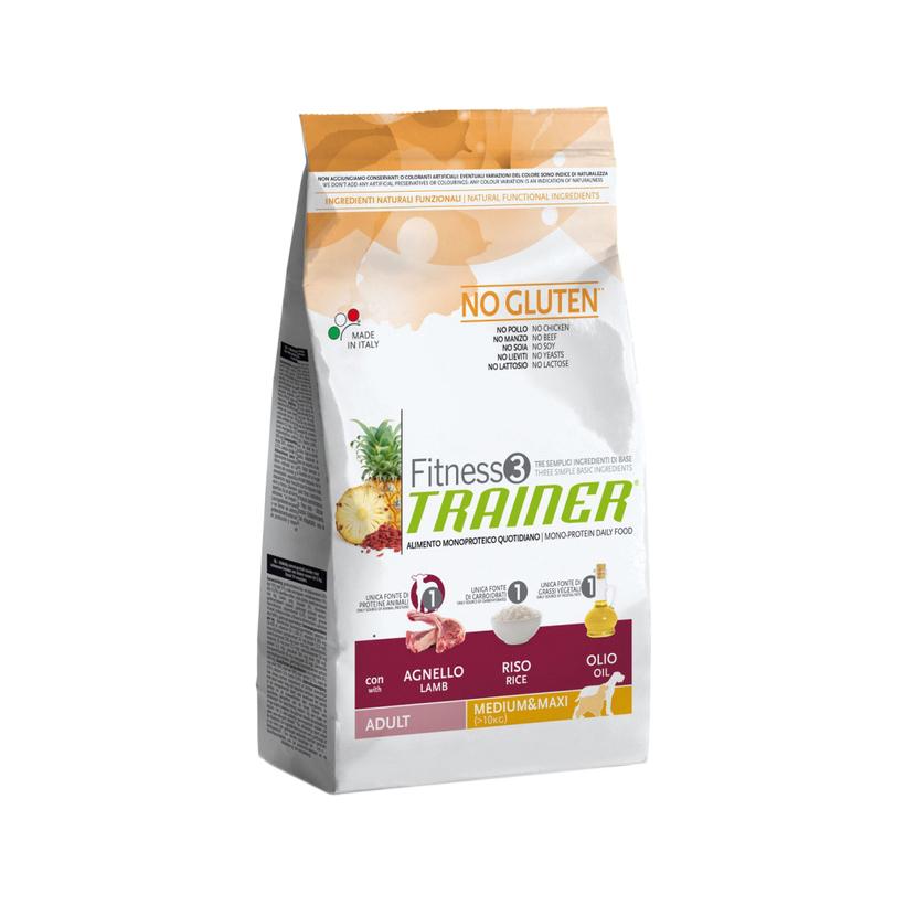Фото - Корм для собак TRAINER Fitness3 для средних и крупных пород ягненок, рис сухой 3 кг сухой корм для собак vivere ягненок 3 кг для средних пород