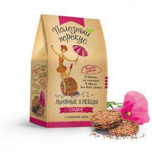 Хлебцы льняные Organic Life Полезный перекус сладкие с маком 100 г