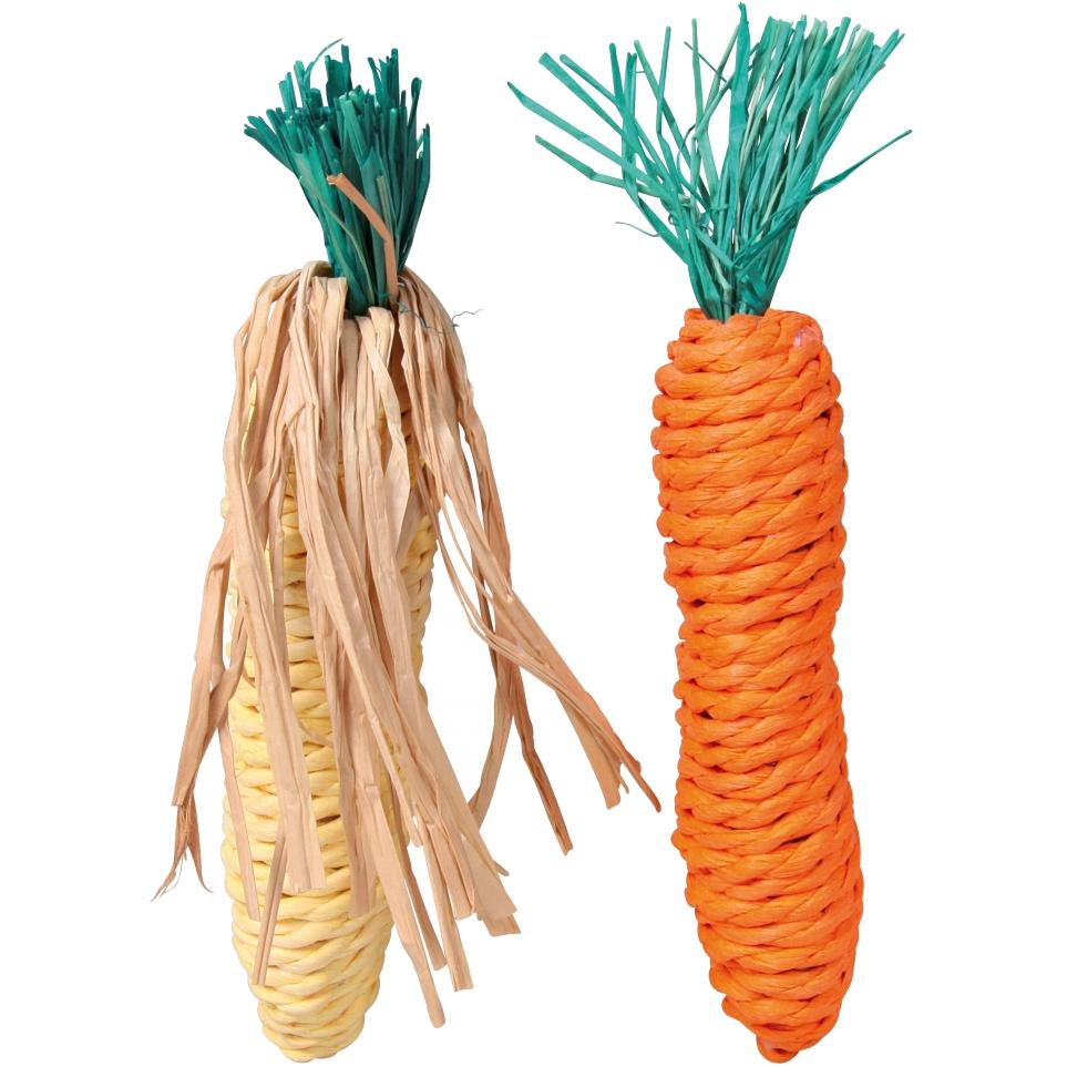 Игрушка для грызунов Trixie Морковь и кукуруза из сизали 15 см фото