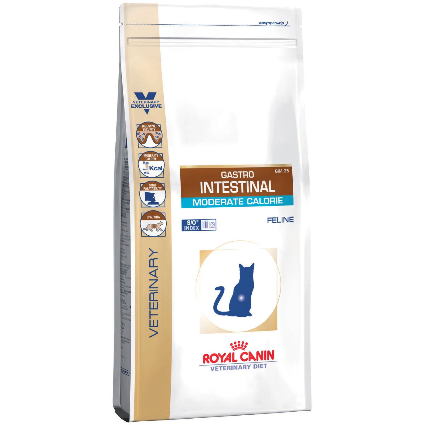 Корм для кошек Royal Canin Gastro Intestinal Moderate Calorie с умеренным содержанием энергии при нарушениях пищеварения 2 кг.