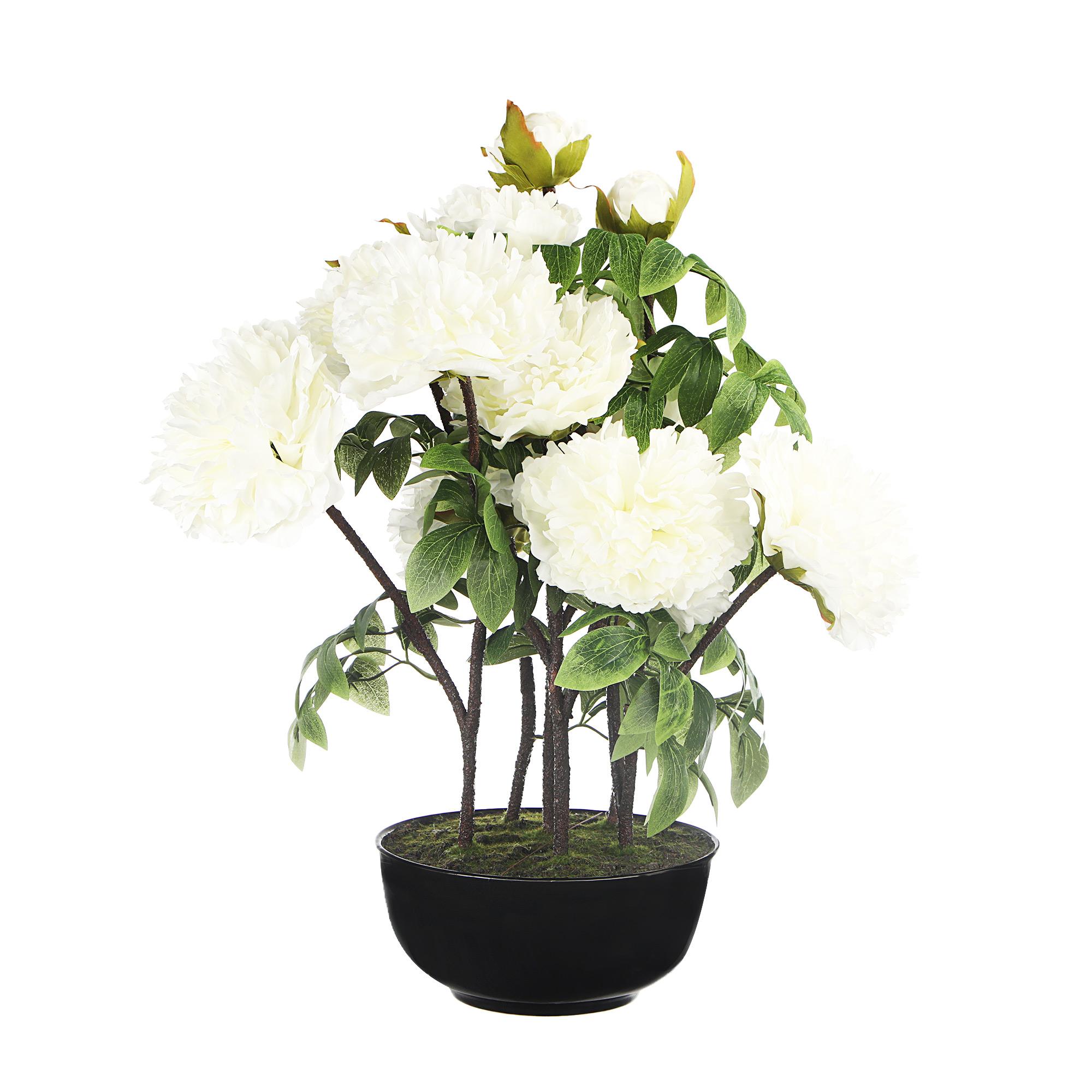Цветок искусственный в горшке Colorful пион белый 62см