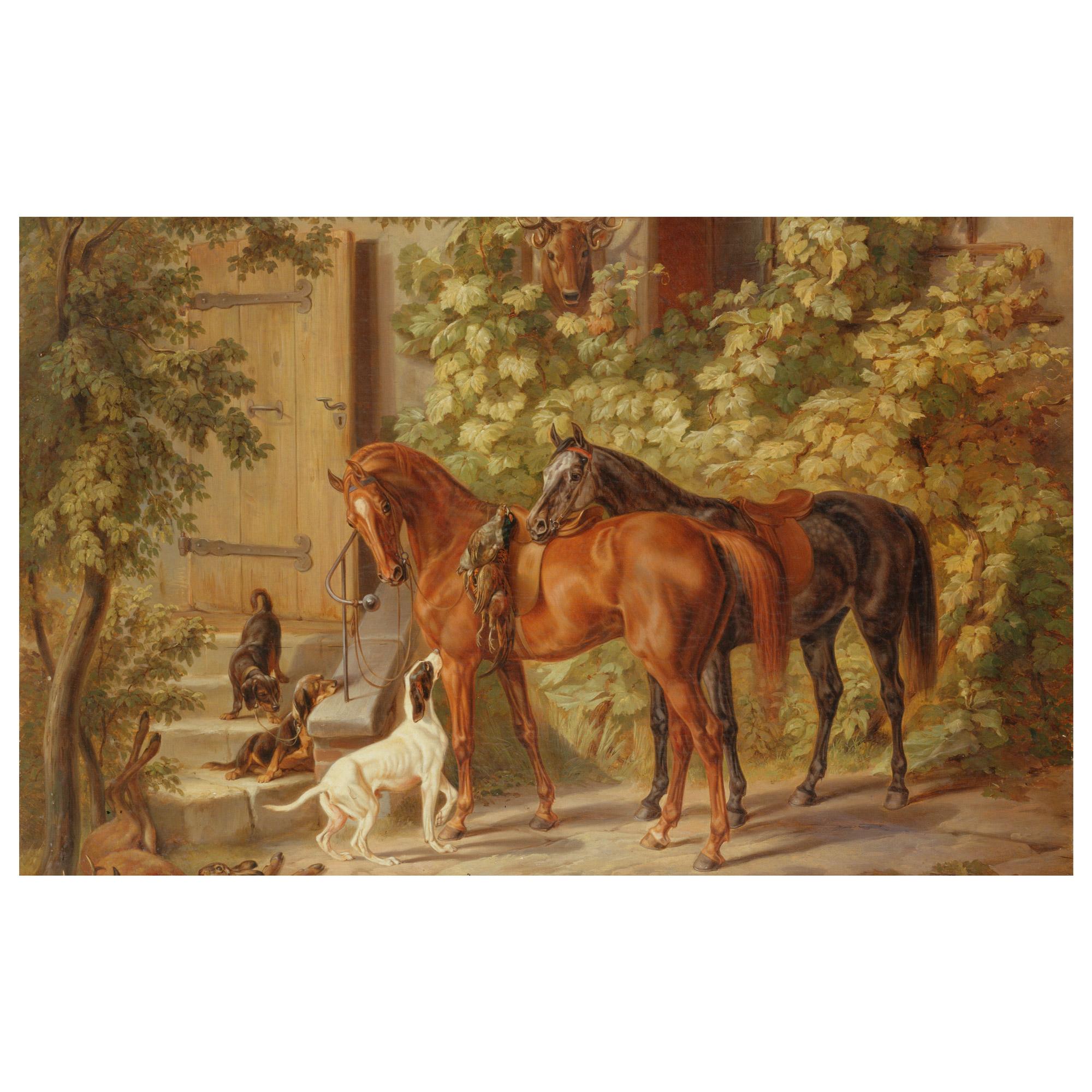 Картина Лошади у крыльца 50х62,5 см