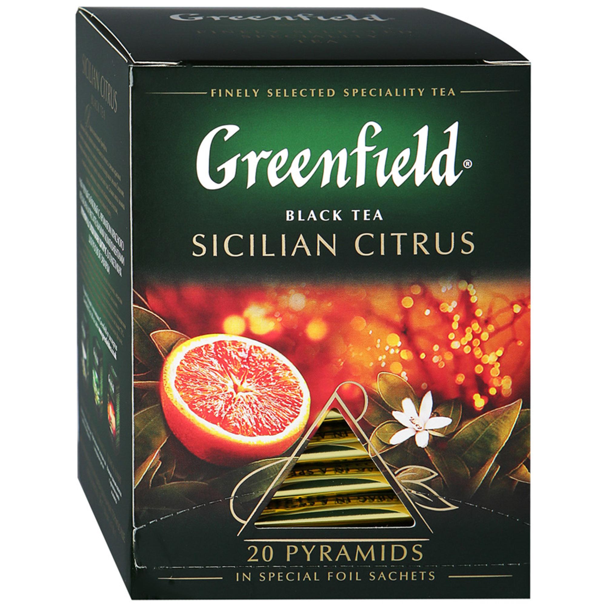 Чай черный Greenfield Sicilian Citrus 20 пакетиков чай черный greenfield sicilian citrus в пирамидках 20 шт