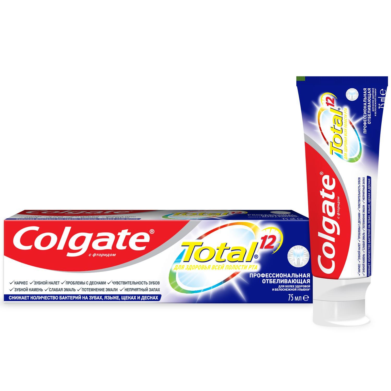Фото - Зубная паста Colgate TOTAL 12 Профессиональная Отбеливающая 75мл зубная паста для чувствительных зубов colgate sensitive pro relief восстановление и контроль зубная 75мл