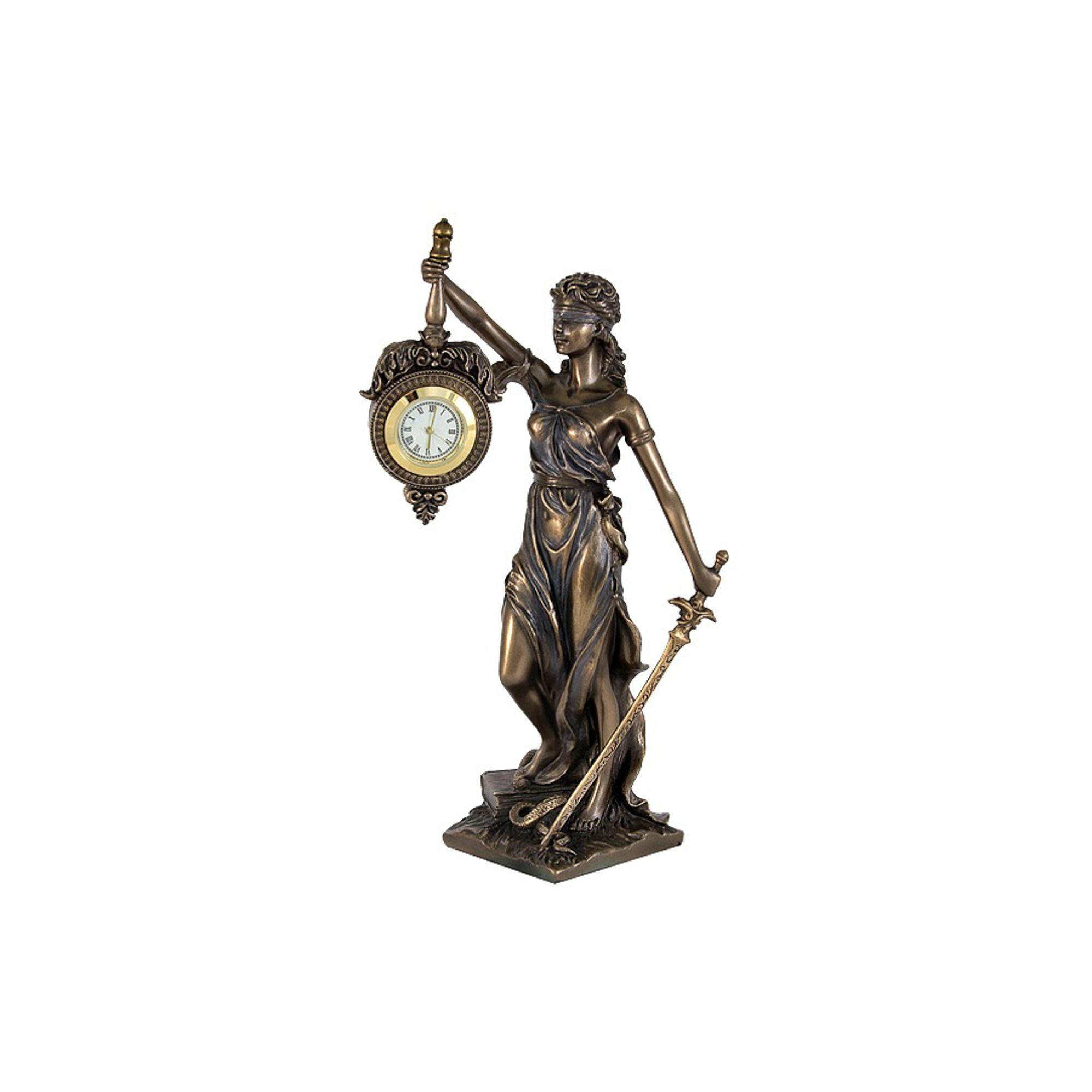 Статуэтка Veronese фемида с часами 9.5х7.5х20см