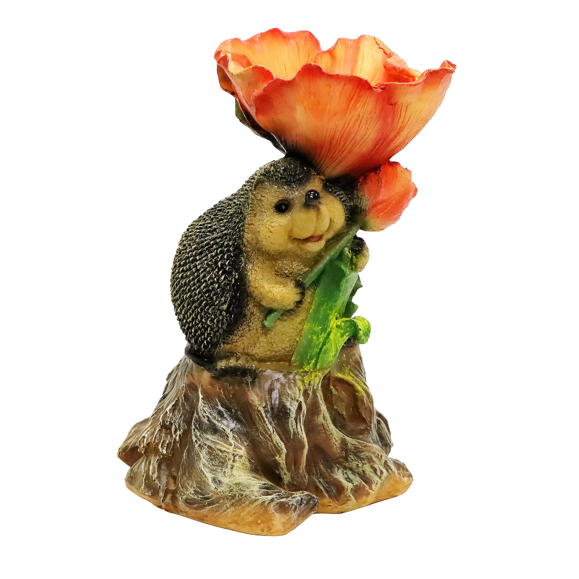 Фигура садовая Ежик-поилка на пне Тпк полиформ садовая фигура красный ара на коряге 9 5х7х24см 5155107