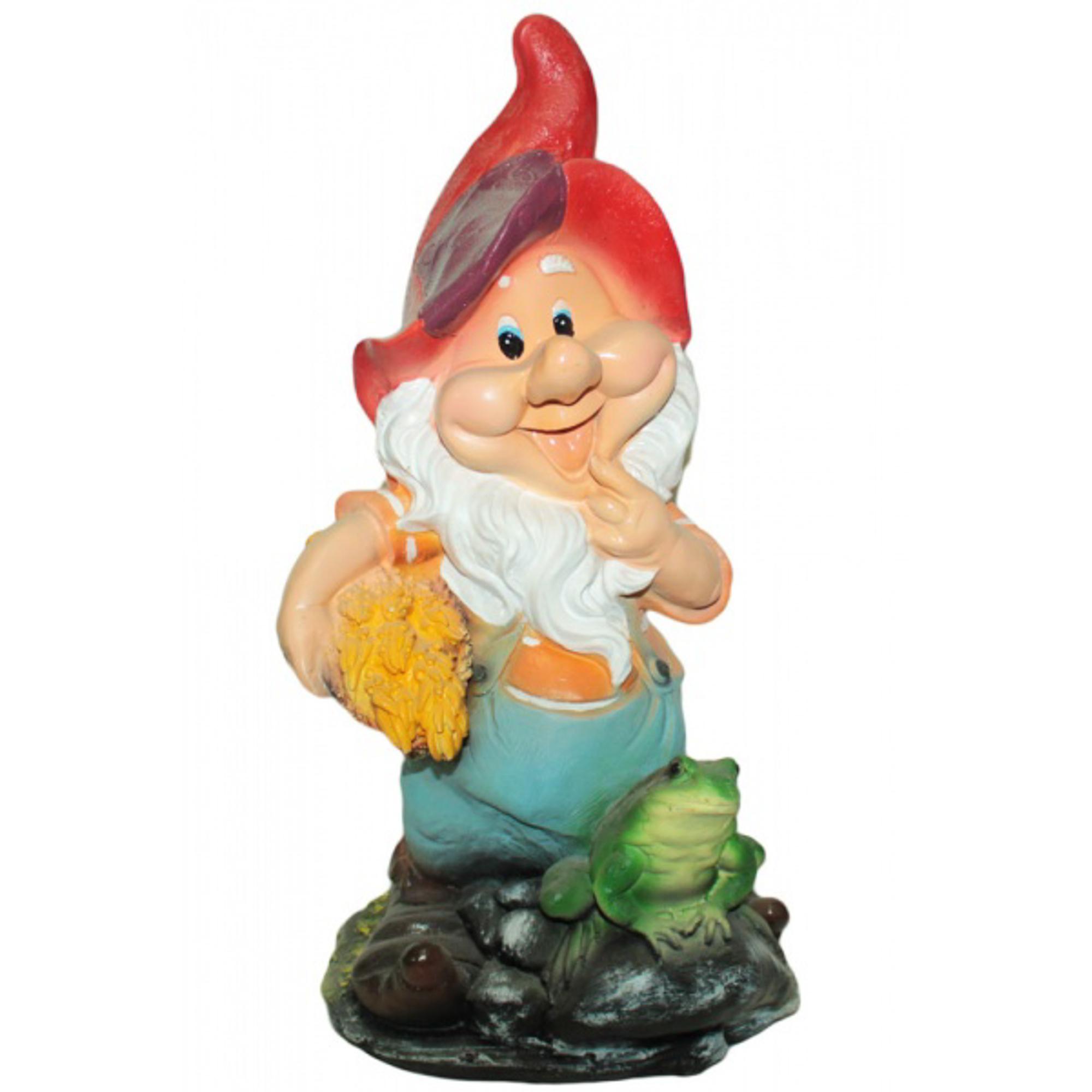 Фигура садовая Гномик с лягушкой на камне Тпк полиформ