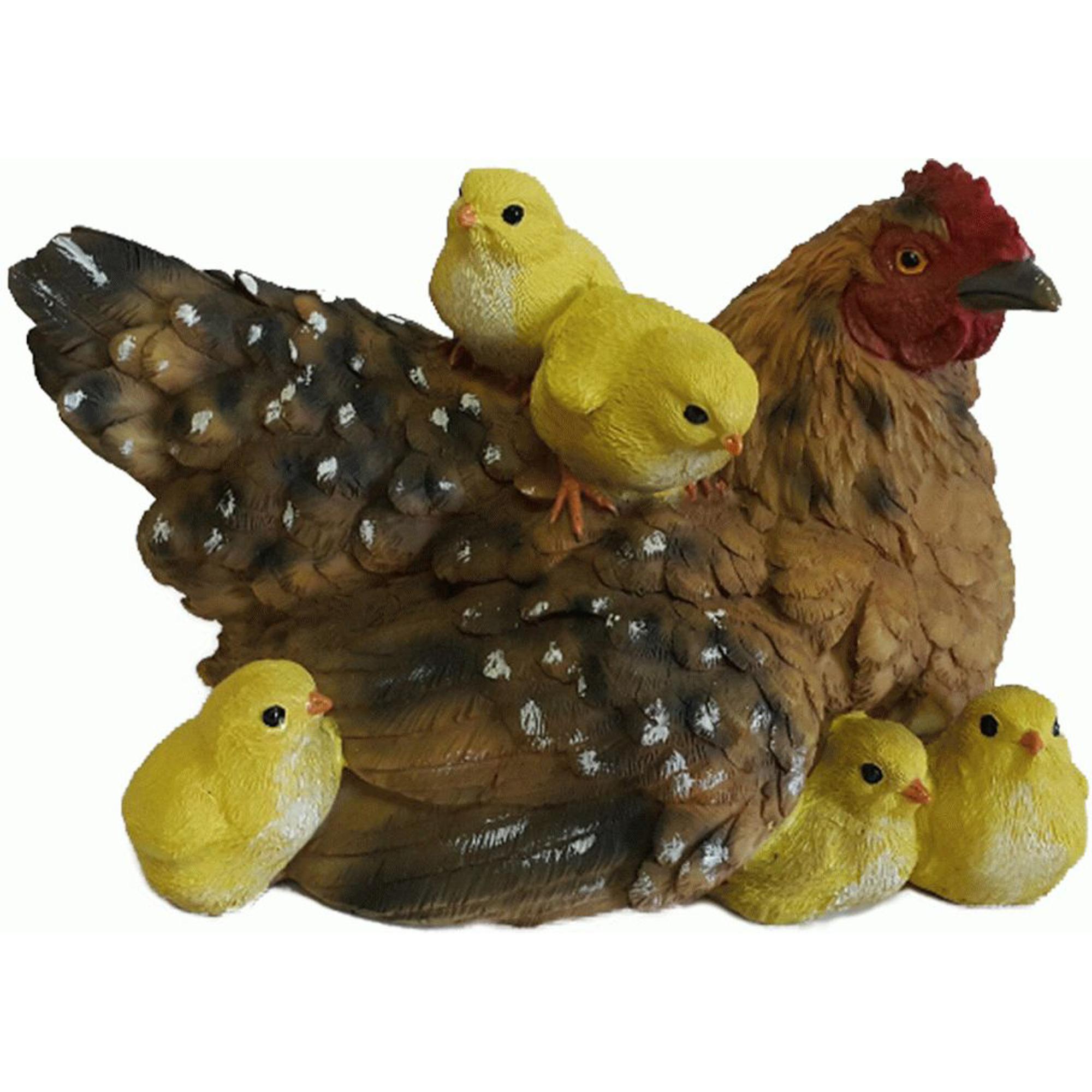 Фигура садовая Курица-мама с детьми Тпк полиформ садовая фигура ёж семен с клубничкой 17х17х35см 600295