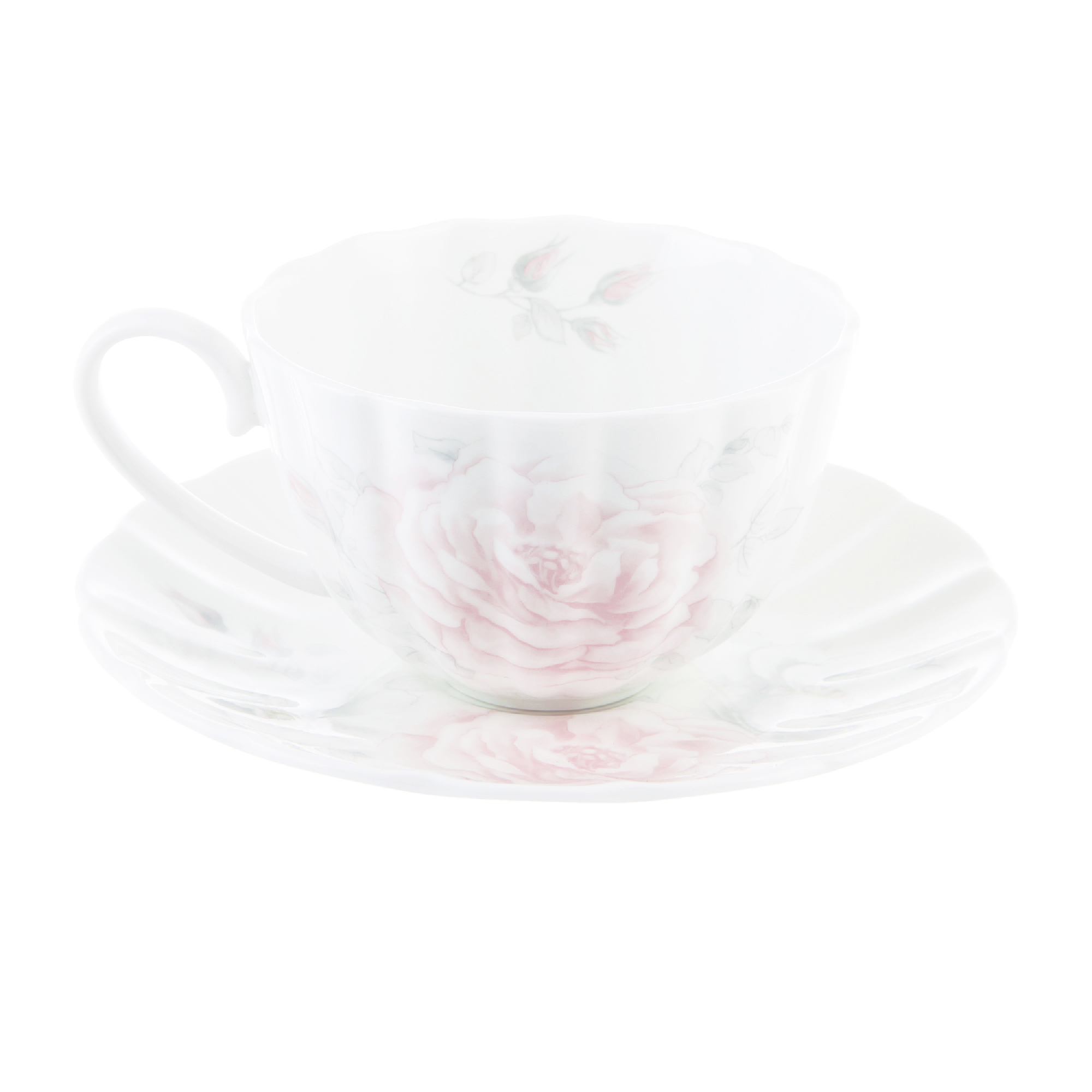 Чашка чайная 300 мл с блюдцем белая шиповник Hatori