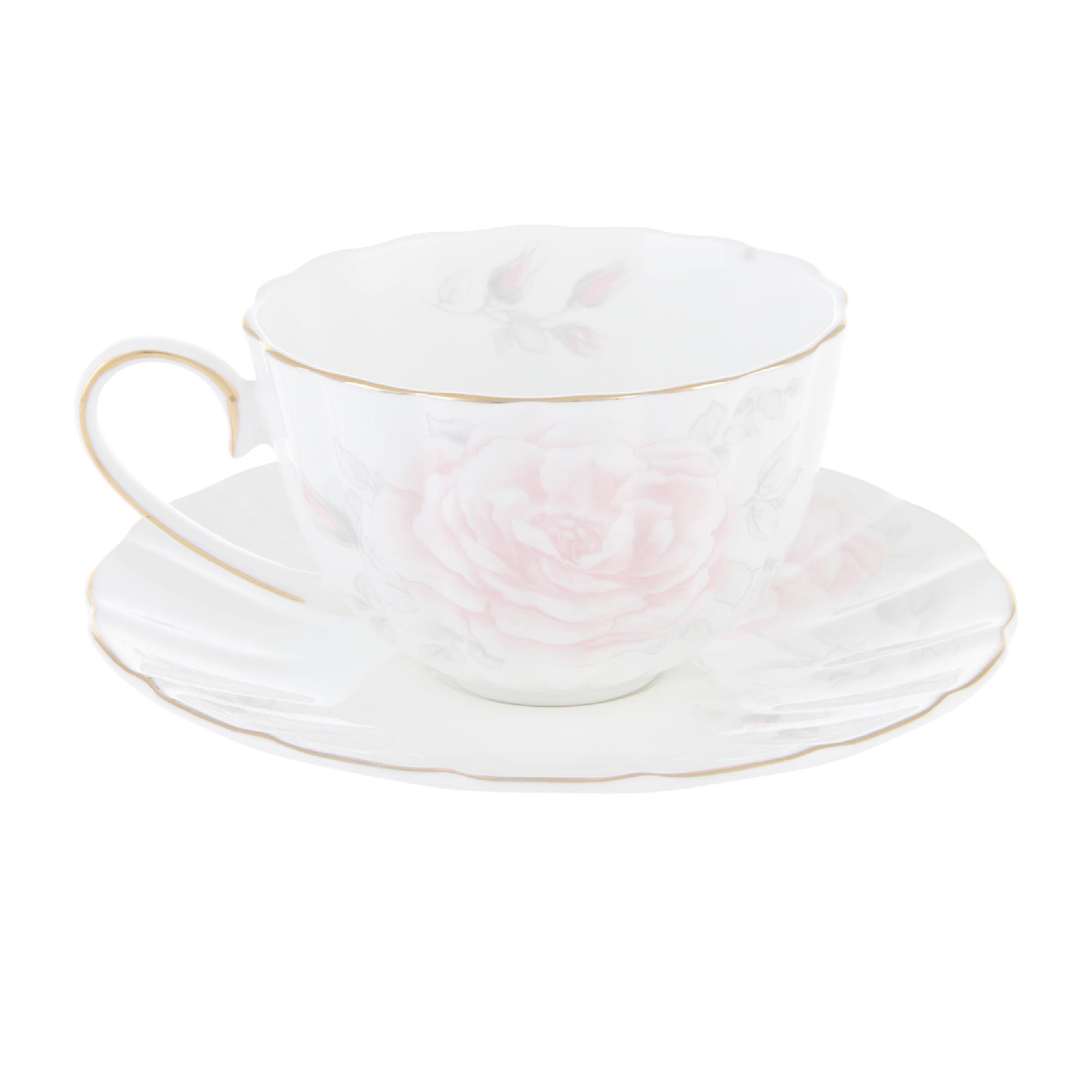 Чашка чайная 300 мл с блюдцем зол,л шиповник Hatori