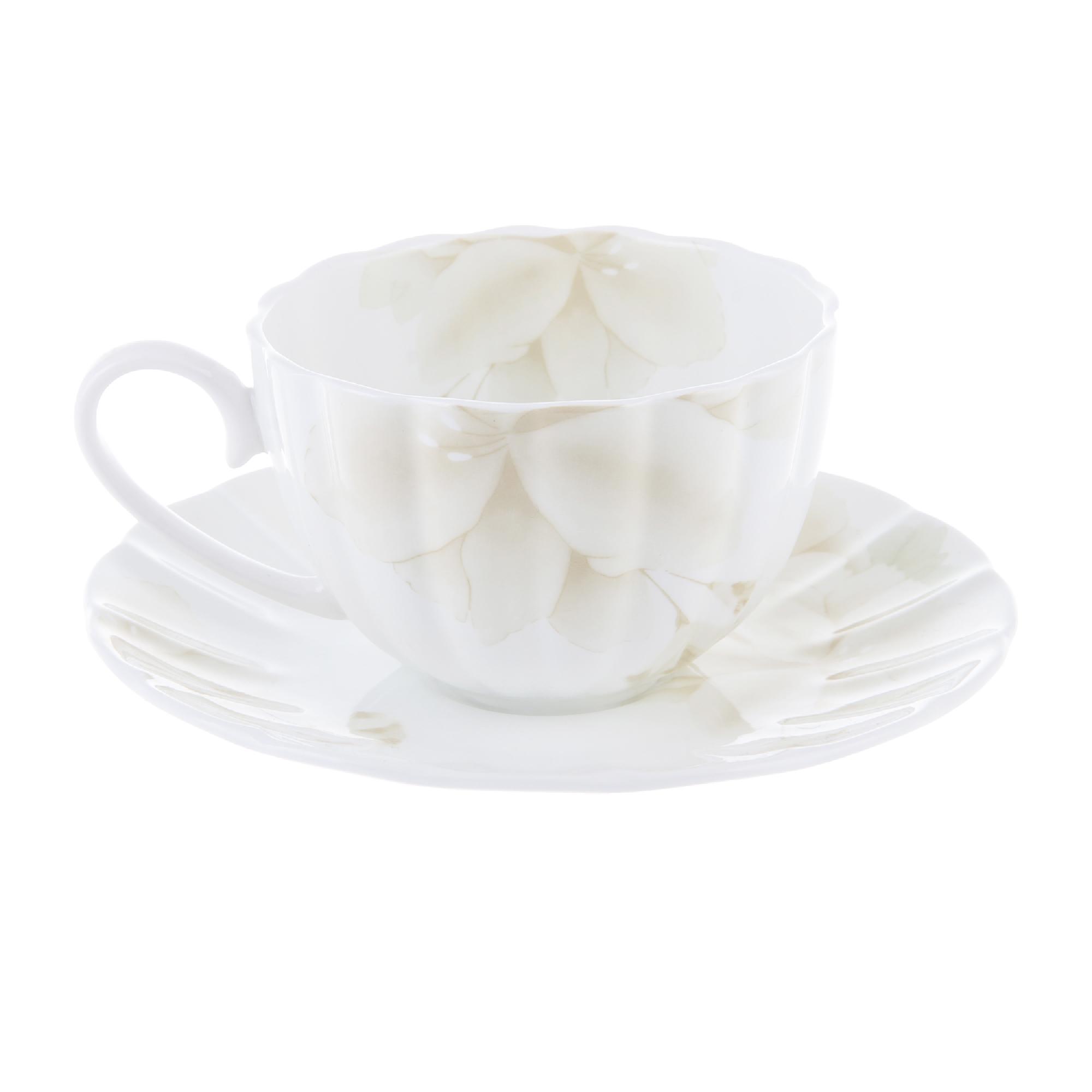 Чашка чайная 300 мл с блюдцем магнолия крем Hatori