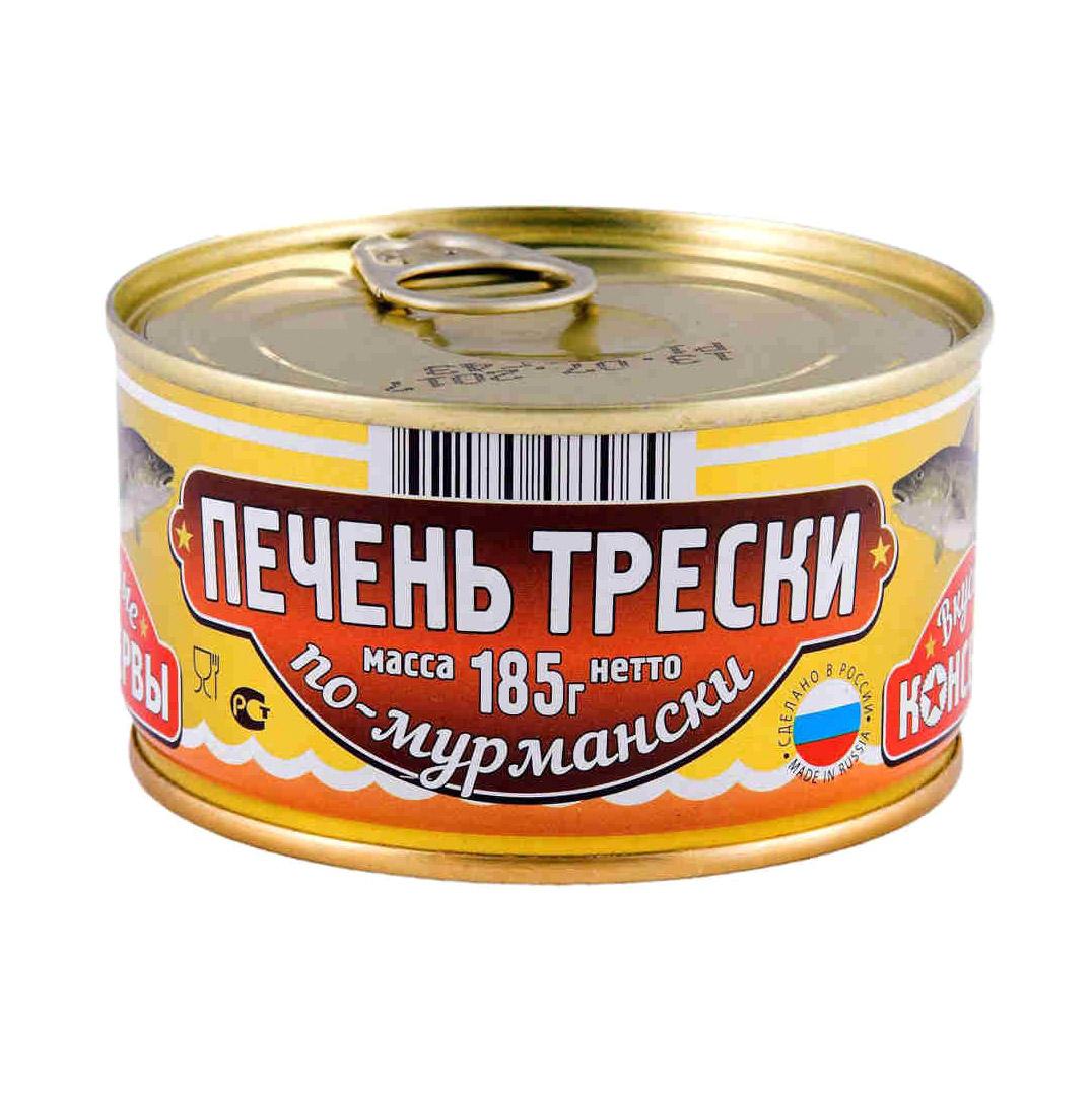 Печень трески Вкусные Консервы по-мурмански 185 г вкусные консервы шпроты крупные 240 г