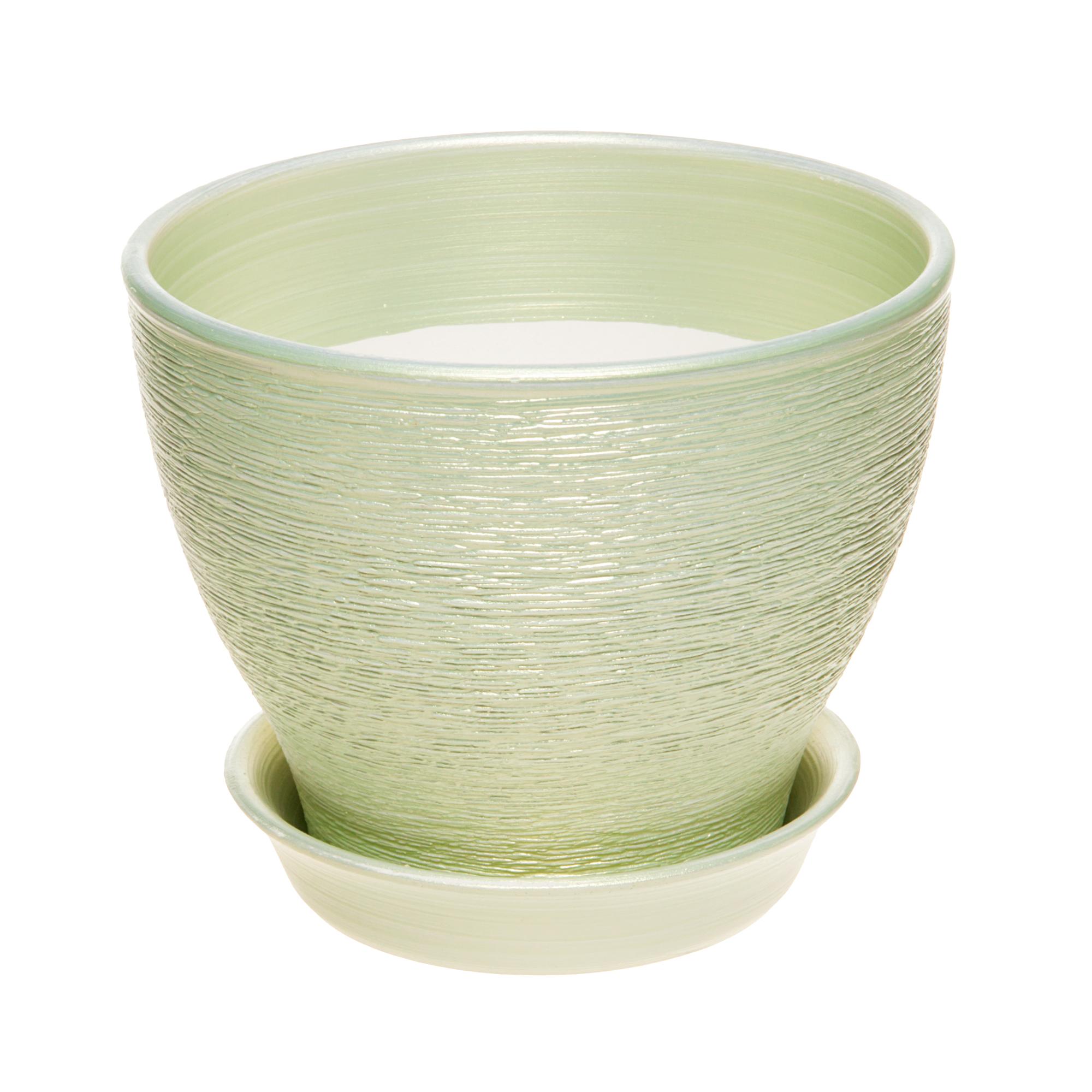 Фото - Горшок для цветов Керам Ксения салатовый 34 см горшок с поддоном керамический для цветов керам ксения глянец зеленый 9см