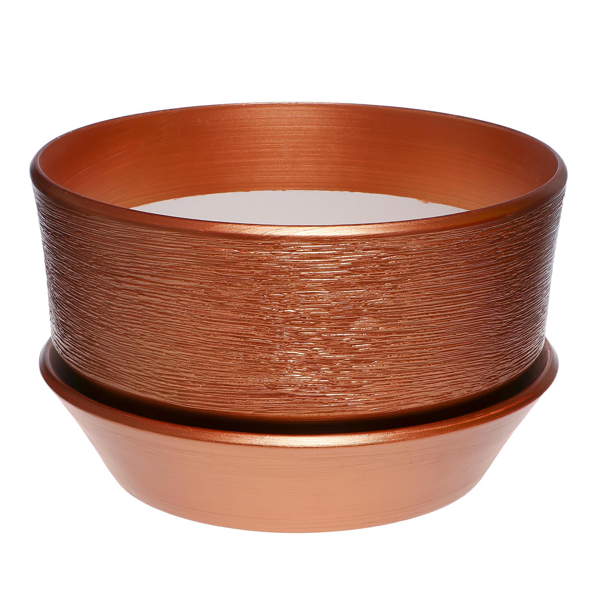 Фото - Горшок с поддоном керамический для цветов Керам бокарнейница бронза d 32см. горшок с поддоном керамический для цветов керам ксения глянец зеленый 9см