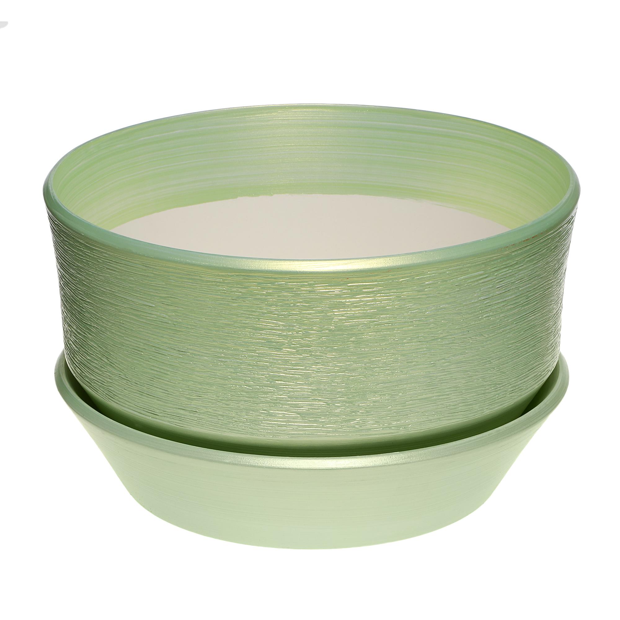 Фото - Горшок с поддоном керамический для цветов Керам бокарнейница салатовый d 32см. горшок с поддоном керамический для цветов керам ксения глянец зеленый 9см