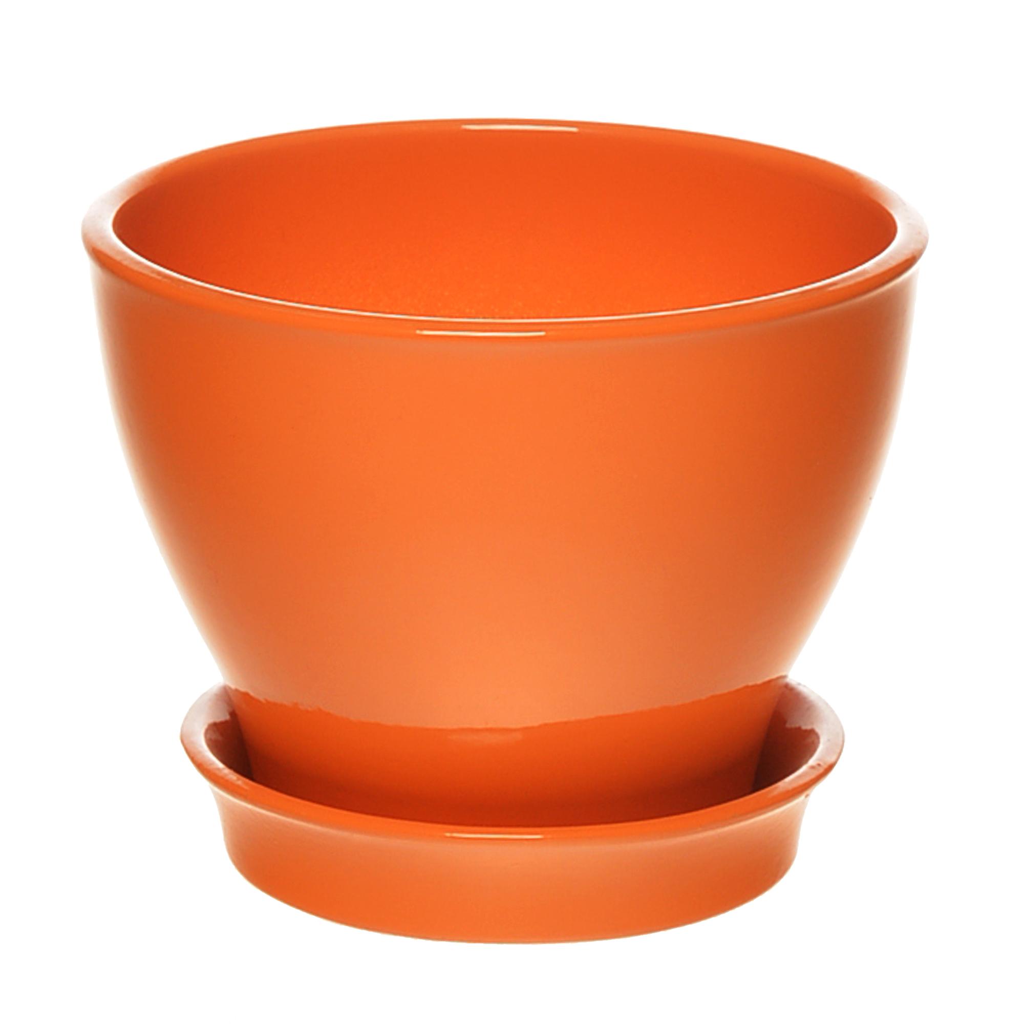 Фото - Горшок с поддоном керамический для цветов Керам Ксения глянец оранжевый 9см горшок с поддоном керамический для цветов керам ксения глянец зеленый 9см