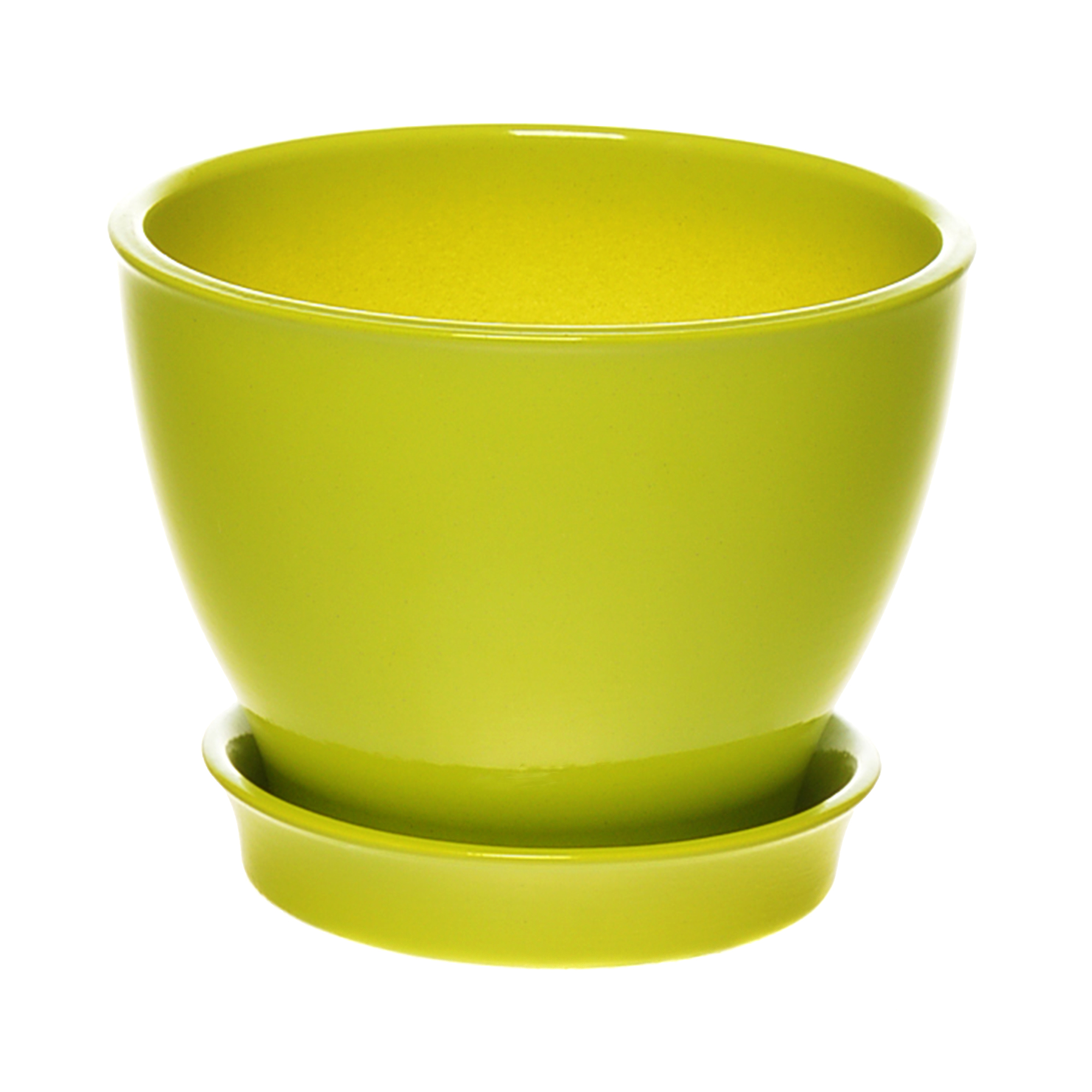 Горшок с поддоном керамический для цветов Керам Ксения глянец грушевый 12см
