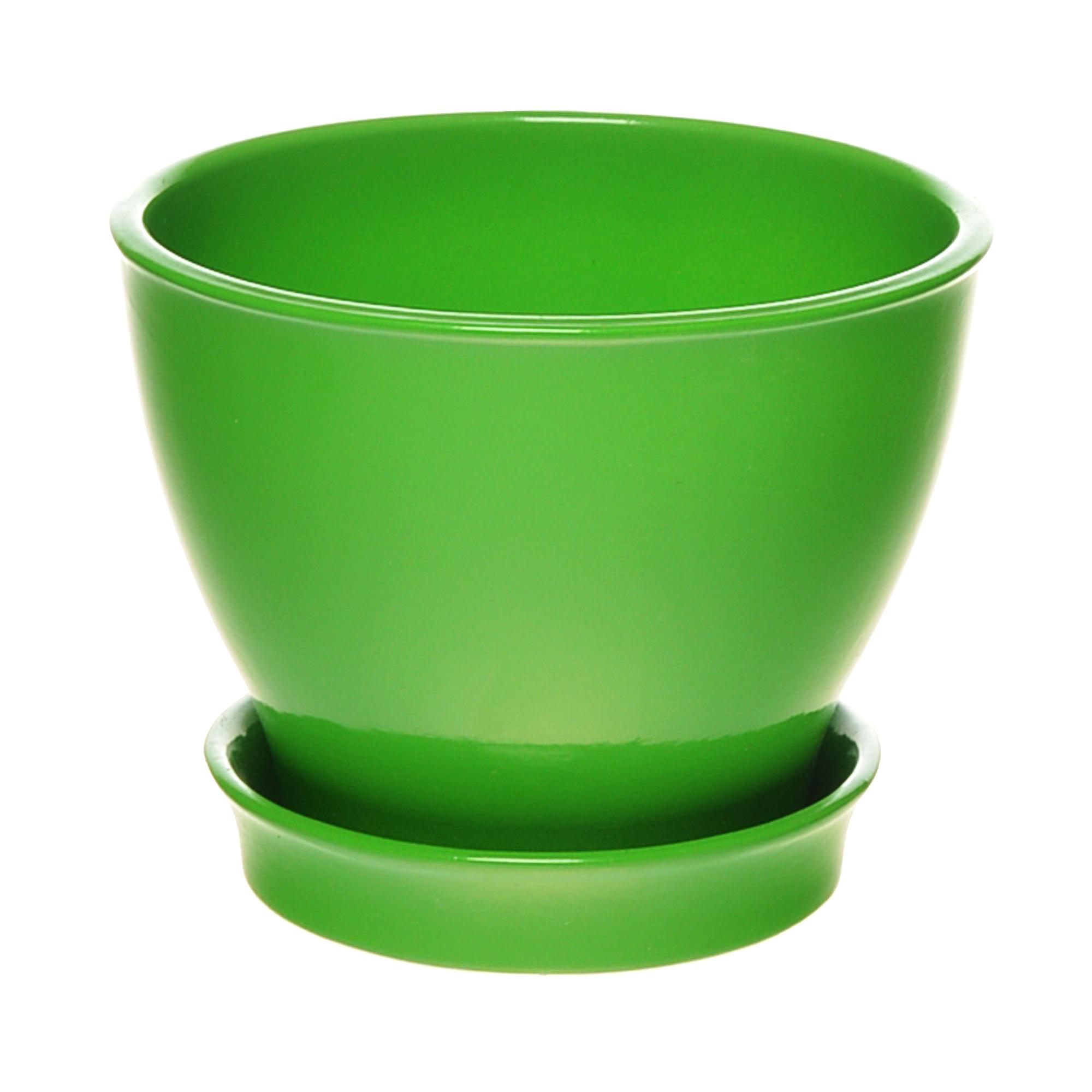 Фото - Горшок с поддоном керамический для цветов Керам Ксения глянец зеленый 12см горшок с поддоном керамический для цветов керам ксения глянец зеленый 9см