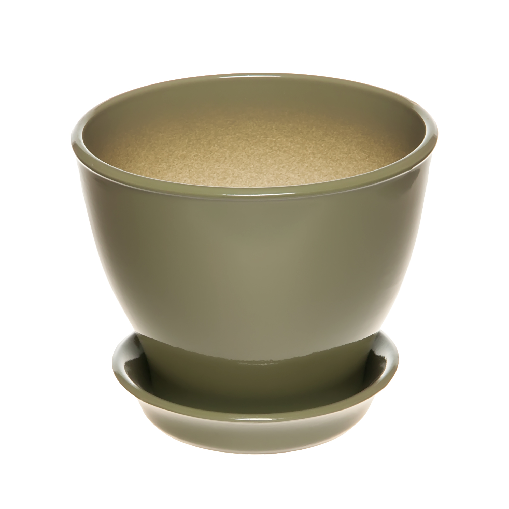 Фото - Горшок Керам Ксения глянец оливковый 15 см горшок с поддоном керамический для цветов керам ксения глянец зеленый 9см