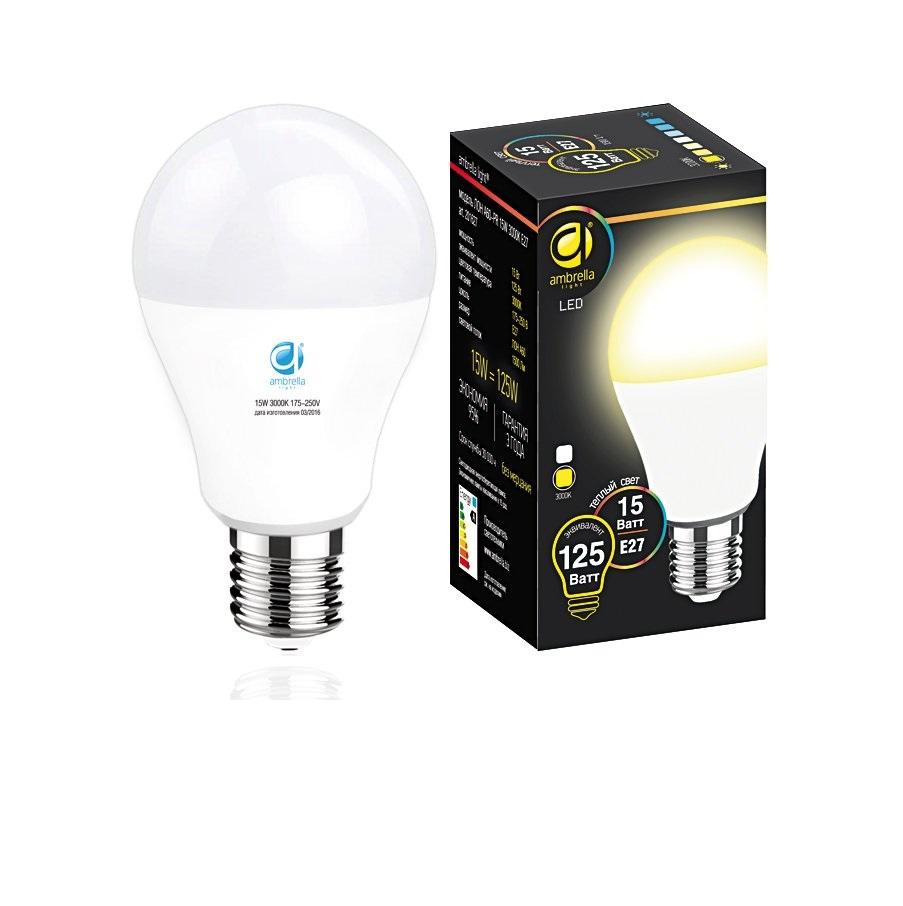 Лампа матовая Ambrella light led a60-pr 15w e27 3000k /125w/