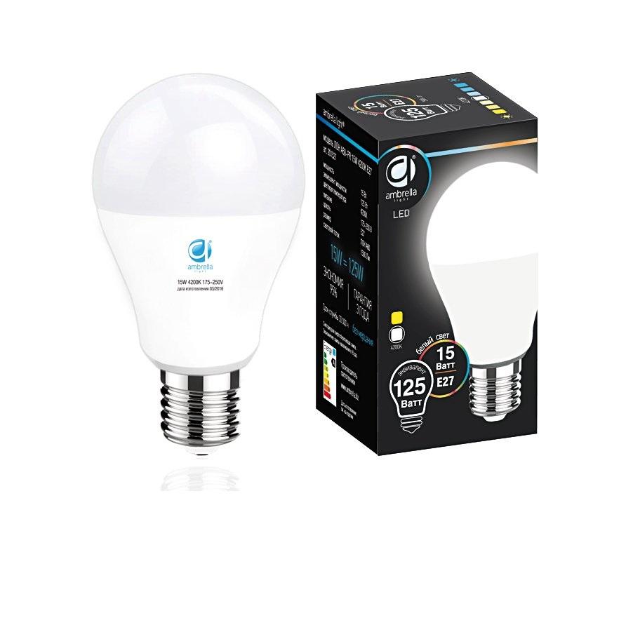 Лампа матовая Ambrella light led a60-pr 15w e27 4200k /125w/ 0 pr на 100