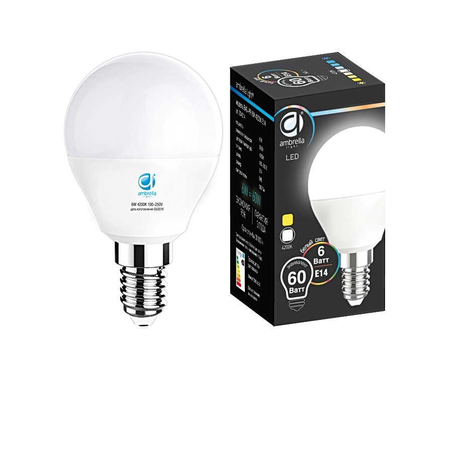 Лампа матовая Ambrella light led b45-pr 6w e14 4200k /60w/ 0 pr на 100