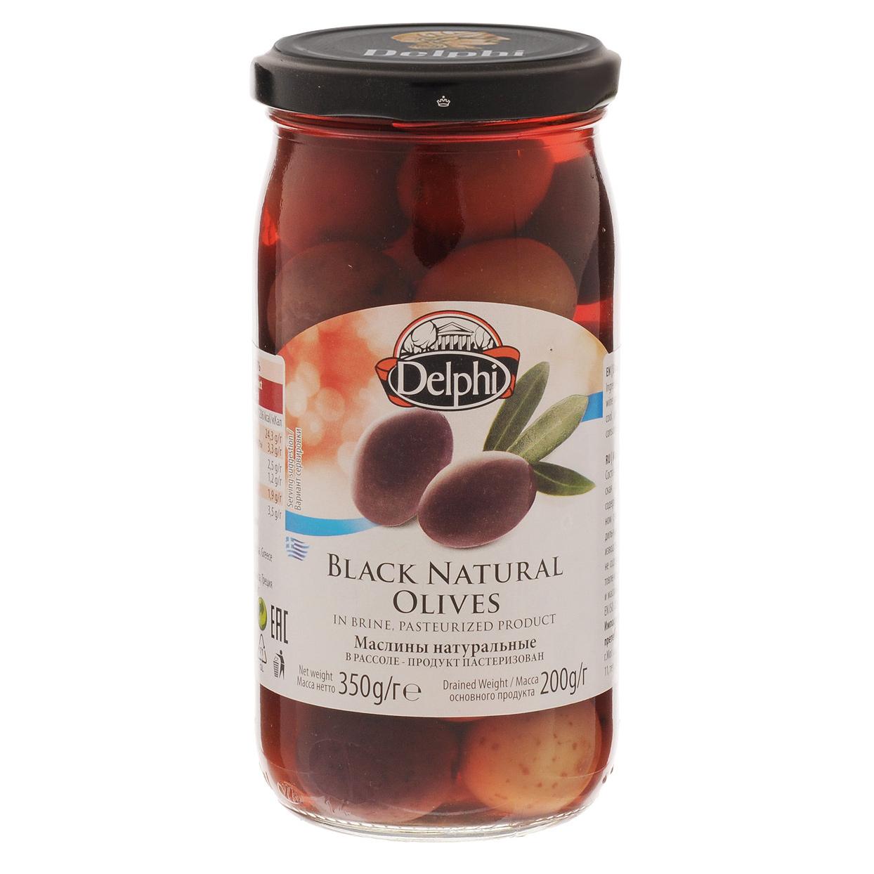 Маслины Delphi натуральные с косточкой в рассоле 350 г delphi маслины с косточкой в рассоле монастырские 480 г