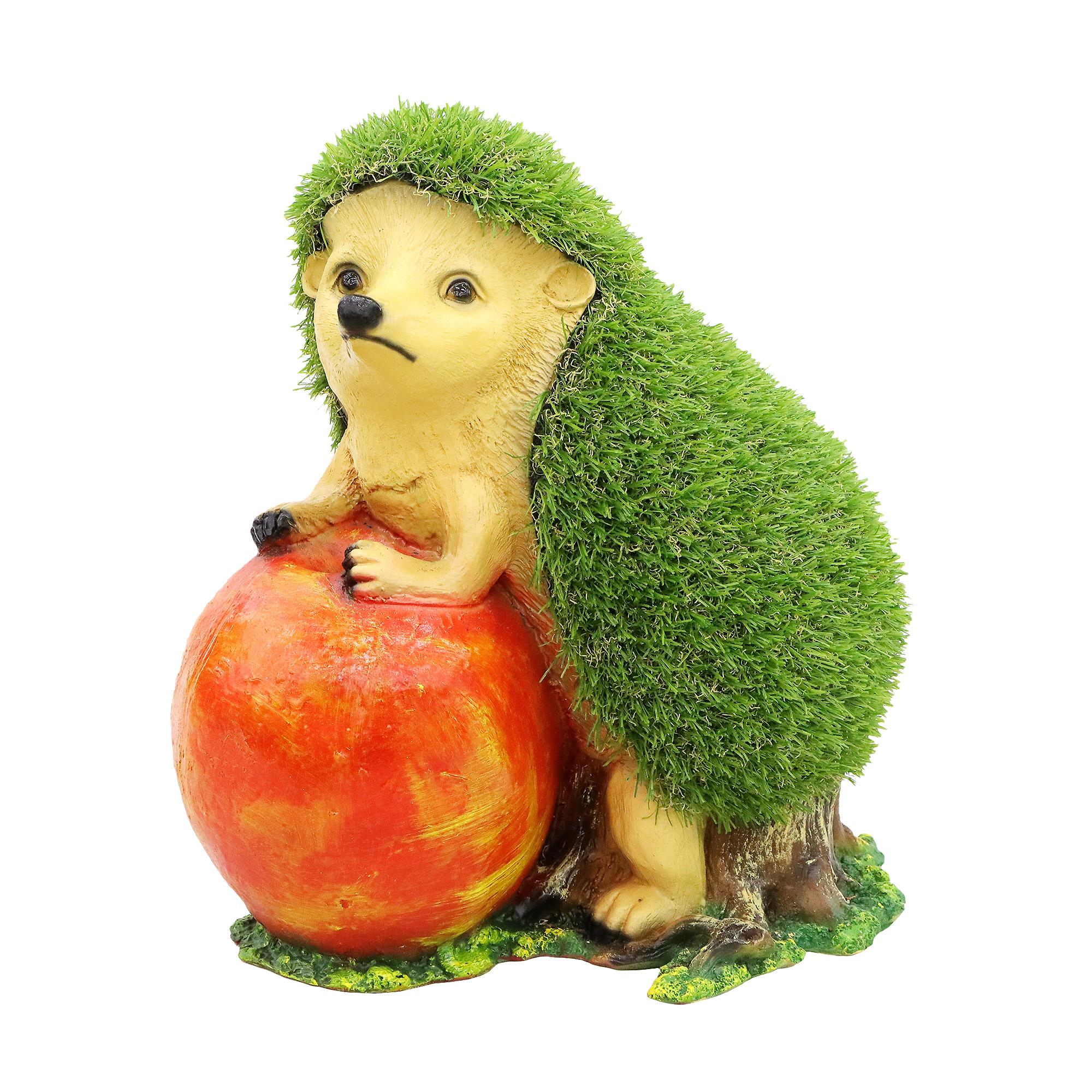 Декоративная садовая фигура покрытая травой Тпк полиформ Ежик с яблоком 38см