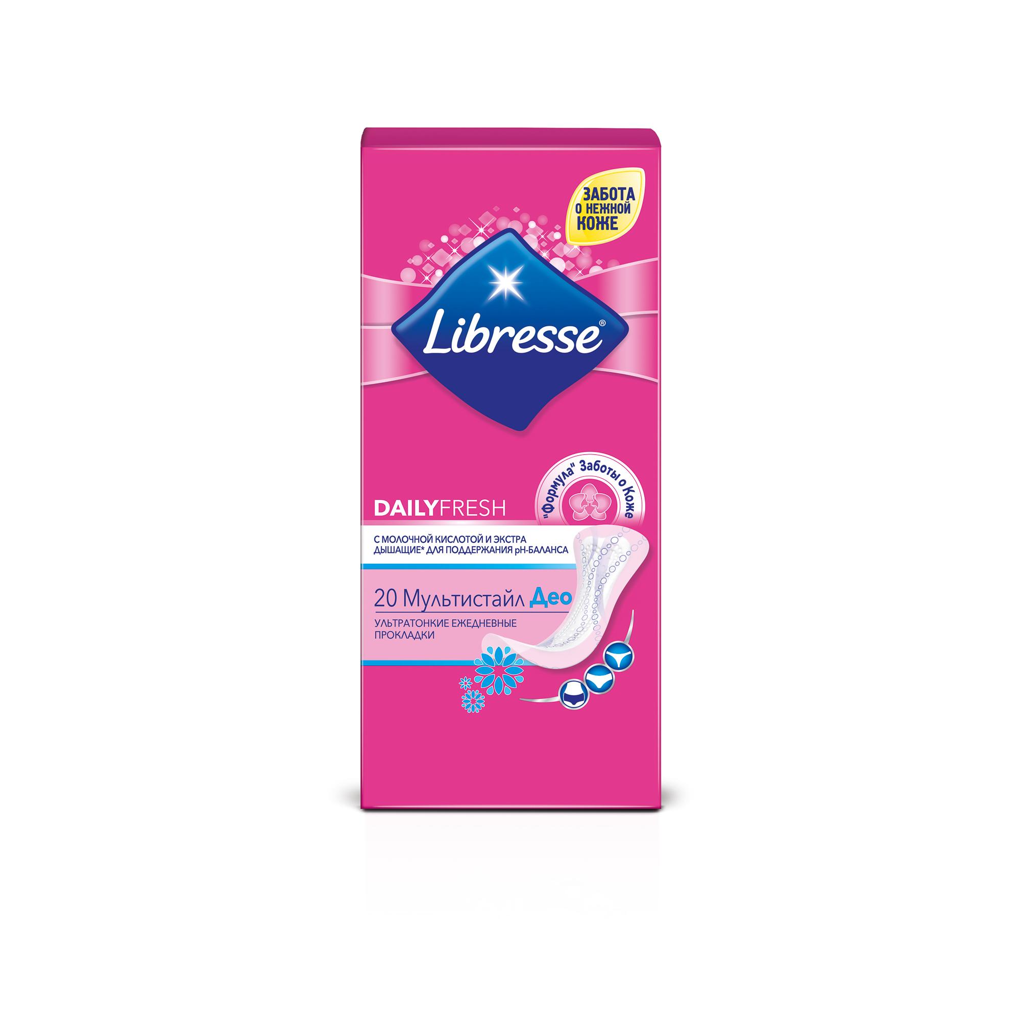 Ежедневные прокладки Libresse Dailyfresh Multistyle Deo, 20 шт. прокладки libresse dailyfresh нормал део 32шт ежедн