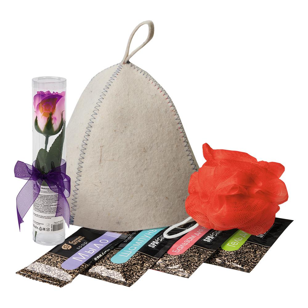 Подарочный набор 7 предметов в пакете ПВХ с крючком (шапка, мыльные цветы