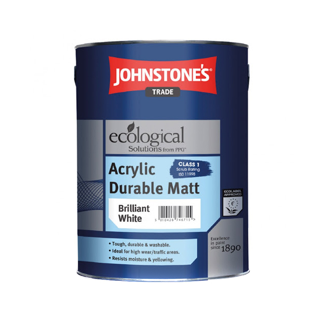 Краска JohnStones Acrylic Durable Brilliant White 10 л фото