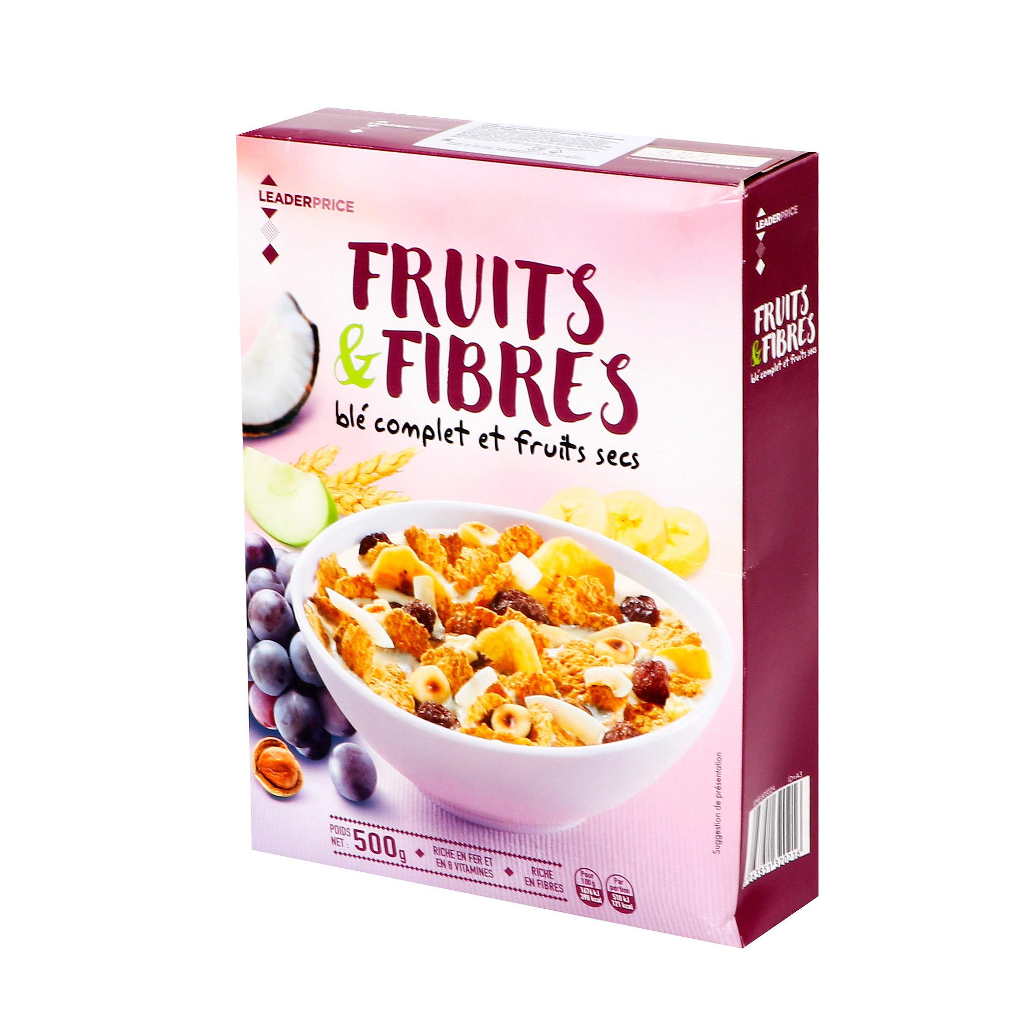 Хлопья пшеничные LEADER PRICE Fruits&Fibers 500 г