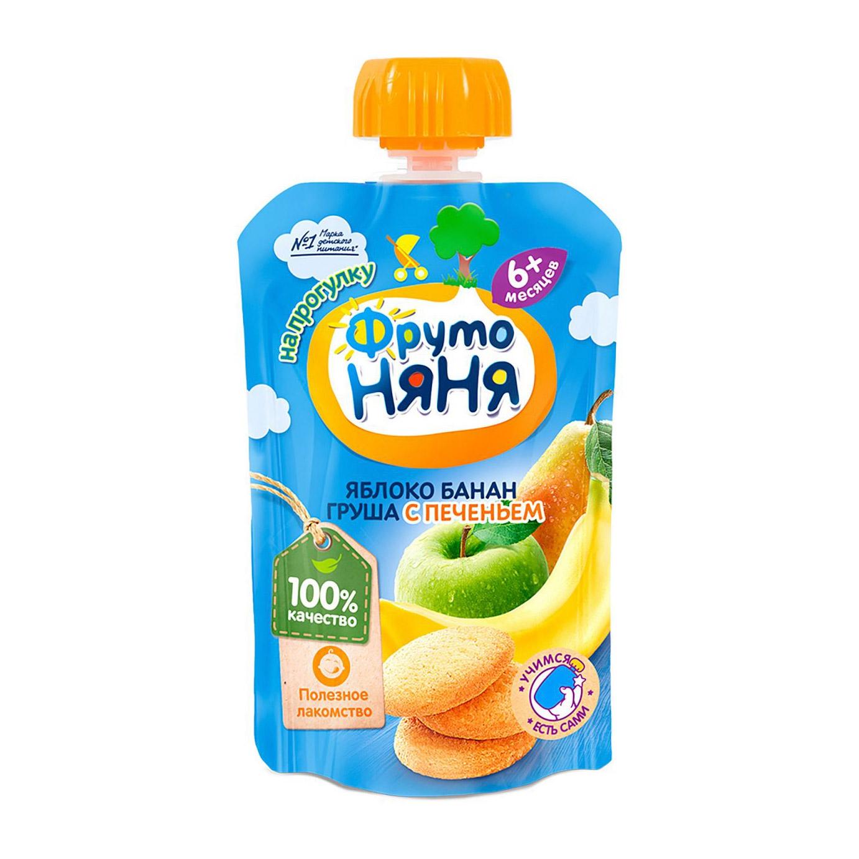 Фото - Пюре фруктовое ФрутоНяня Яблоко, банан и груша с печеньем 90 г пюре heinz яблоко груша кабачок 90 г