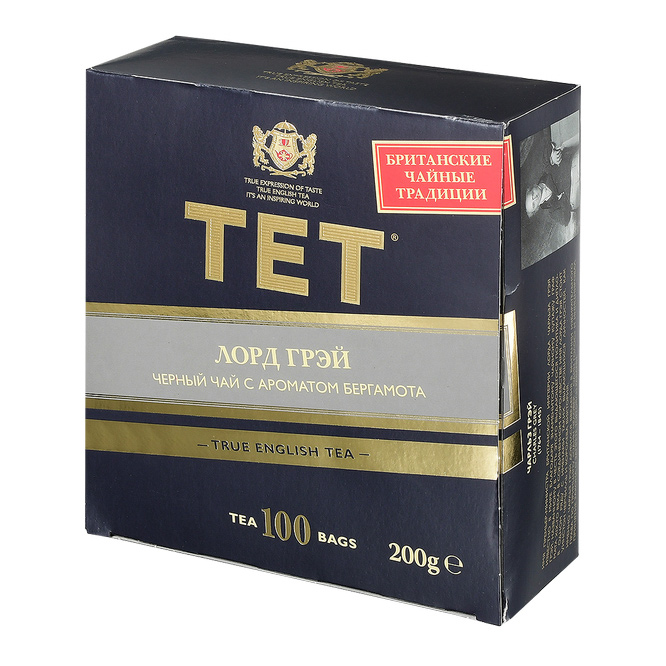 Чай черный TET Лорд Грэй с бергамотом листовой 100 пакетиков чай tet чай чёрный байховый лорд грей 100 пак