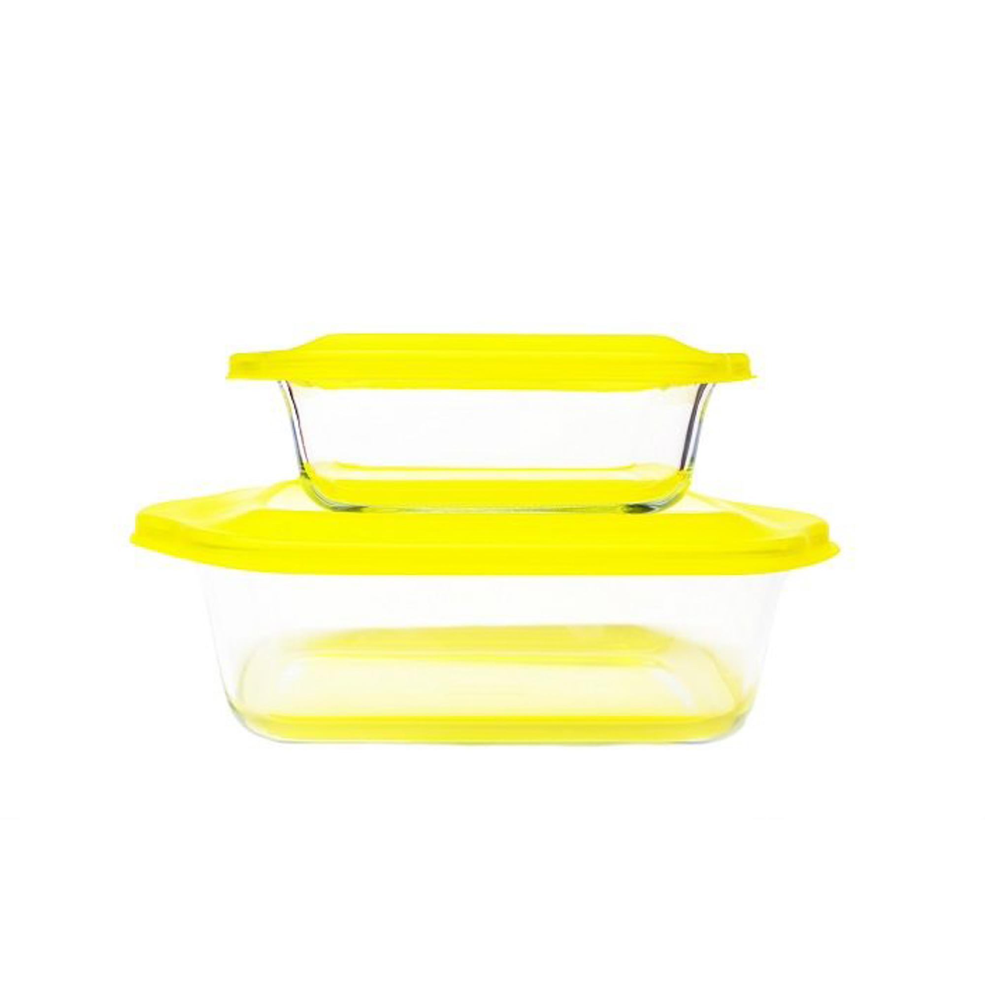 Купить Набор стеклянных форм для запекания Frybest желтый 2 шт, Южная Корея, стекло жаропрочное