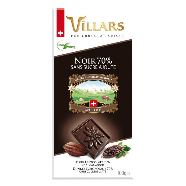 Шоколад горький Villars без добавления сахара 100 г